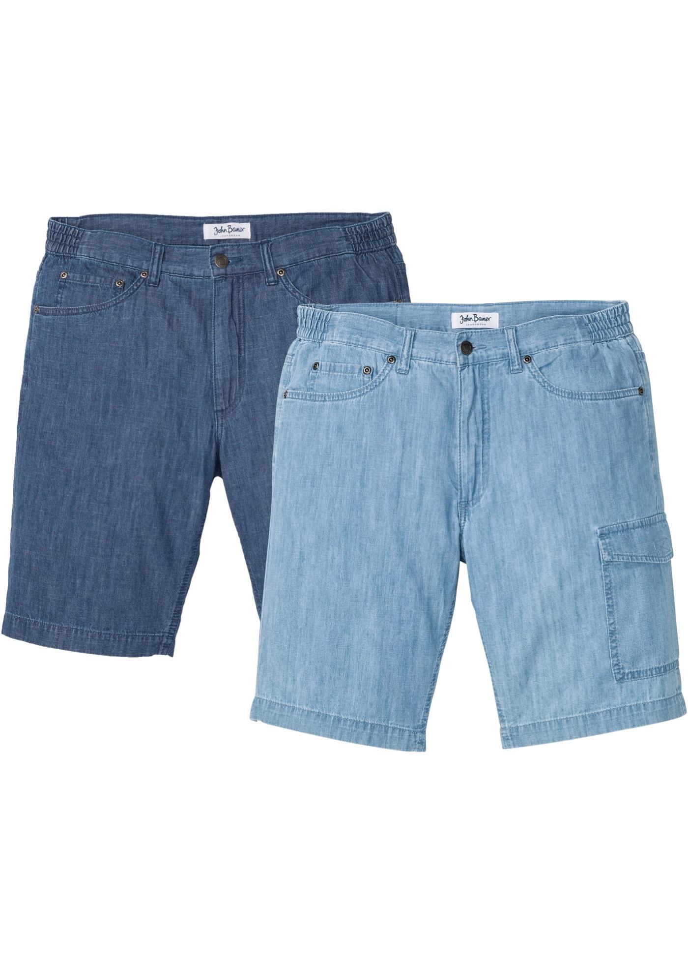 Regular Fit Jeans-Bermuda aus sommerlichem Denim 2er Pack in blau für Herren von bonprix