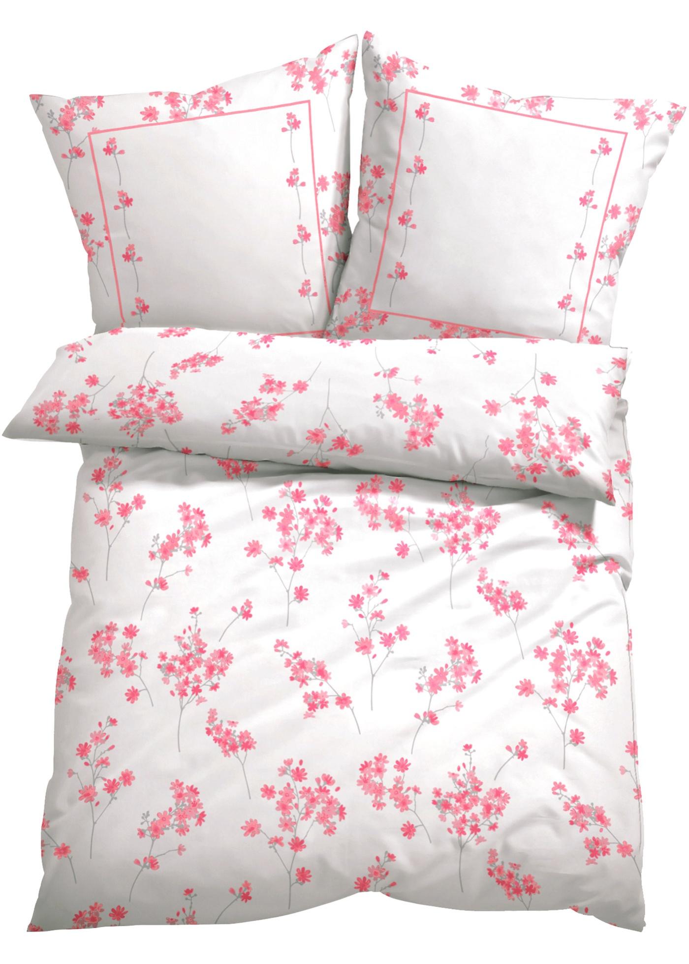 Bettwäsche mit Blumen Design in rosa von bonprix