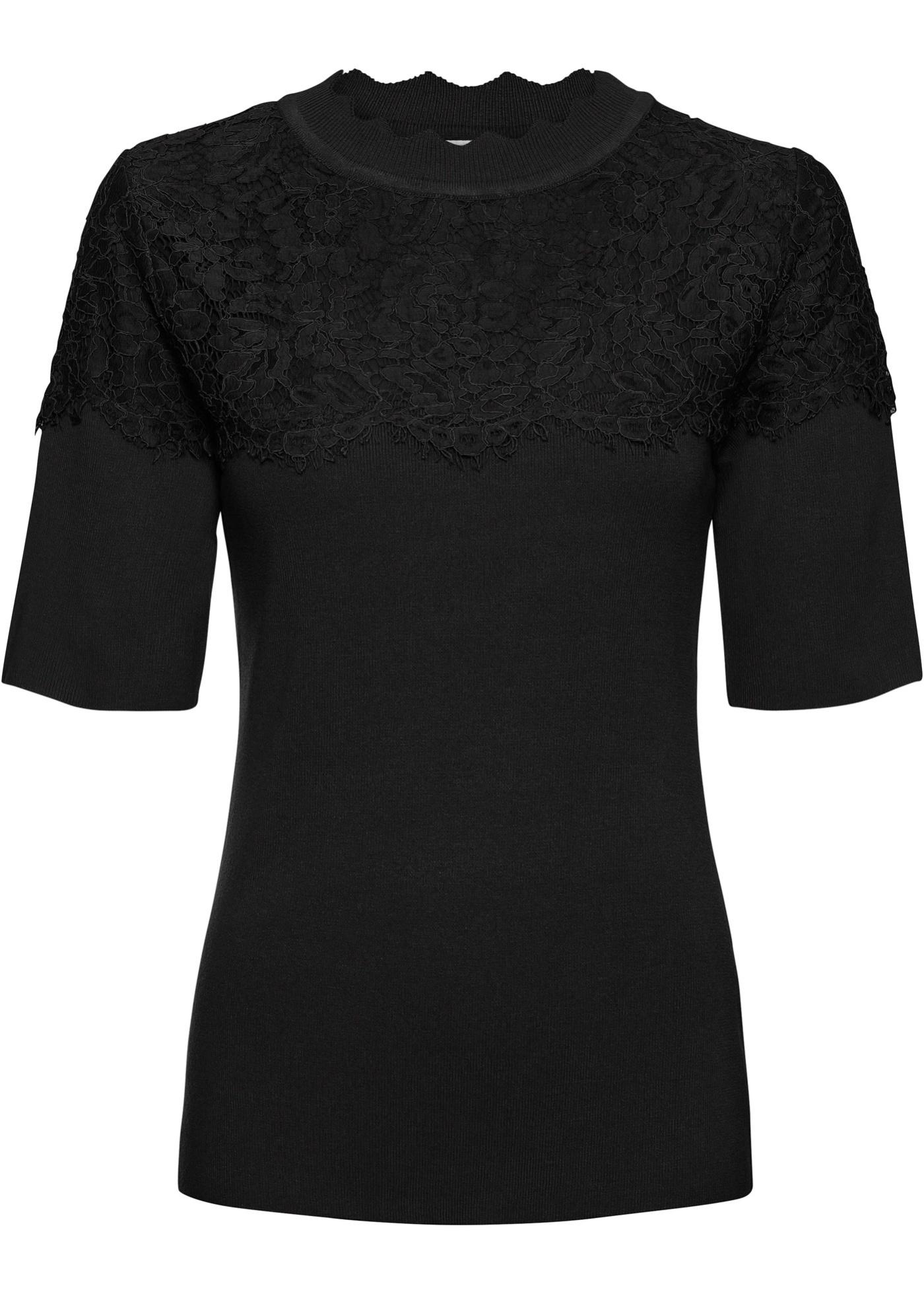 Feinripp-Pullover mit Spitze halber Arm  in schwarz für Damen von bonprix