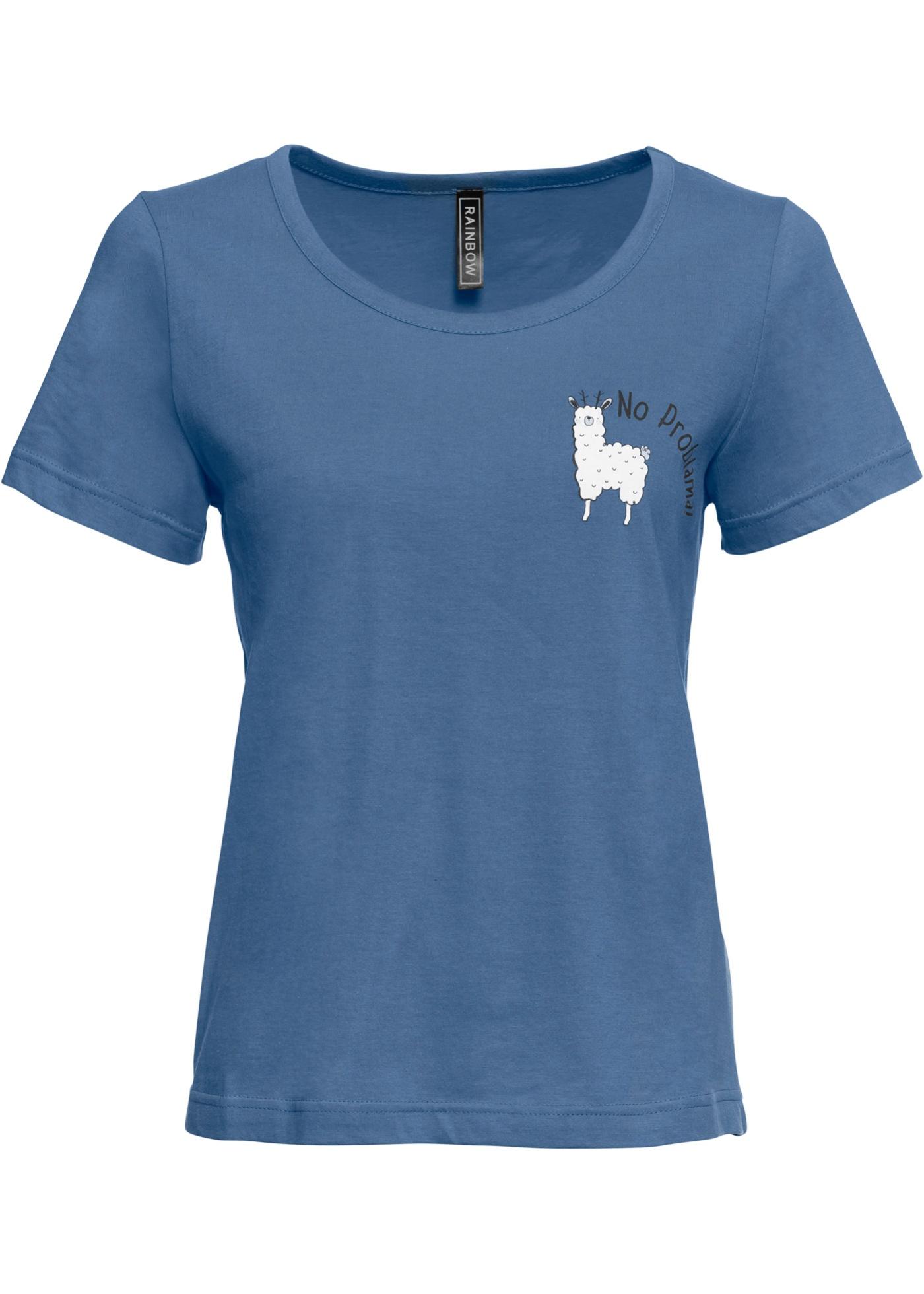 Shirt mit Print kurzer Arm  in blau für Damen von bonprix