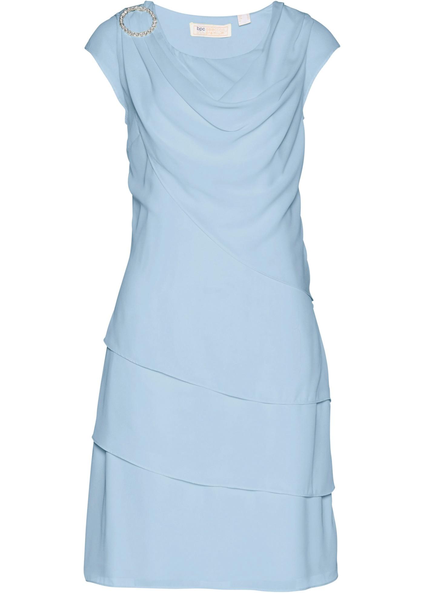 Premium Chiffonkleid im Lagenlook kurzer Arm  in lila für Damen von bonprix
