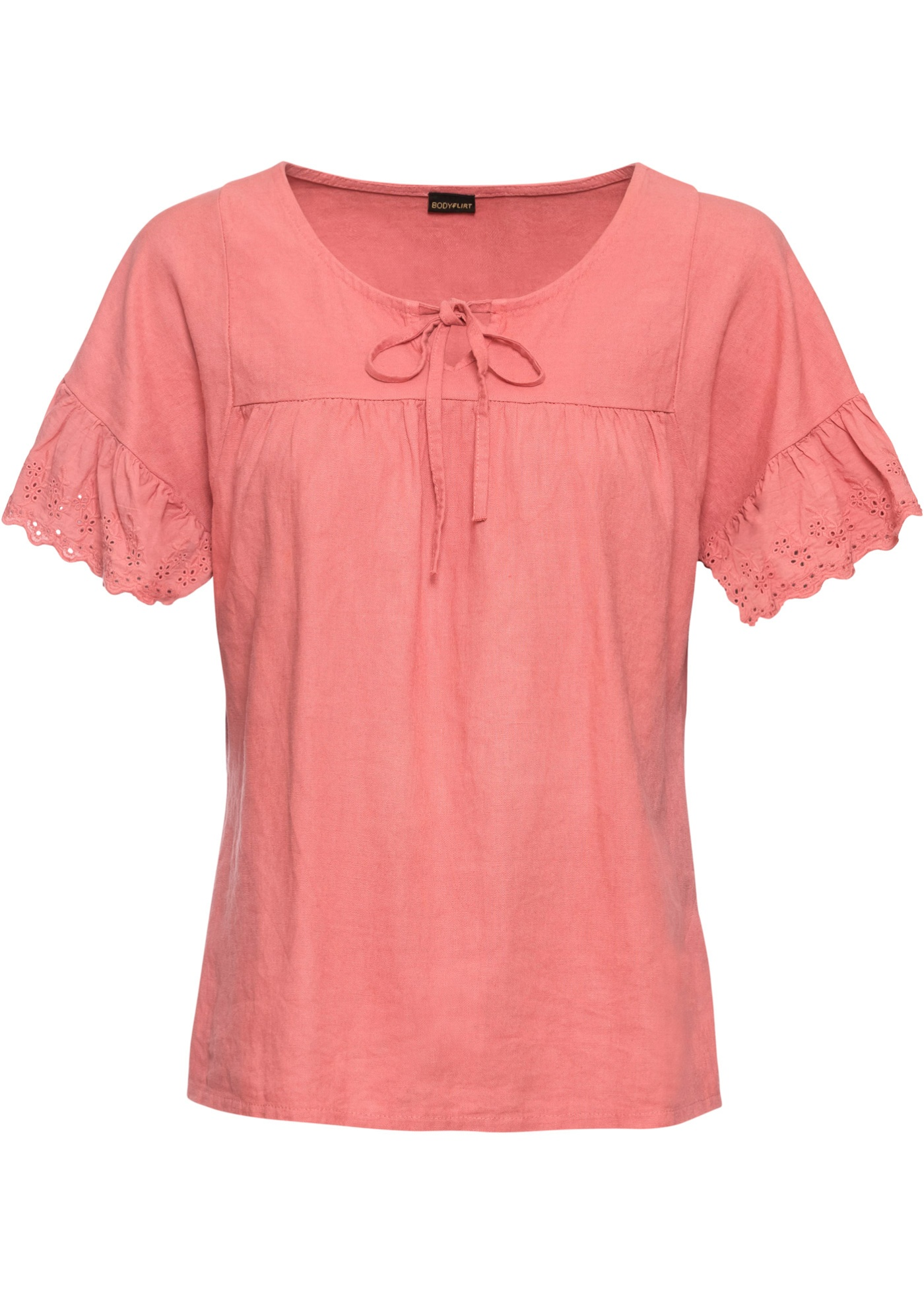 Leinen-Bluse mit Spitze kurzer Arm  in rot für Damen von bonprix