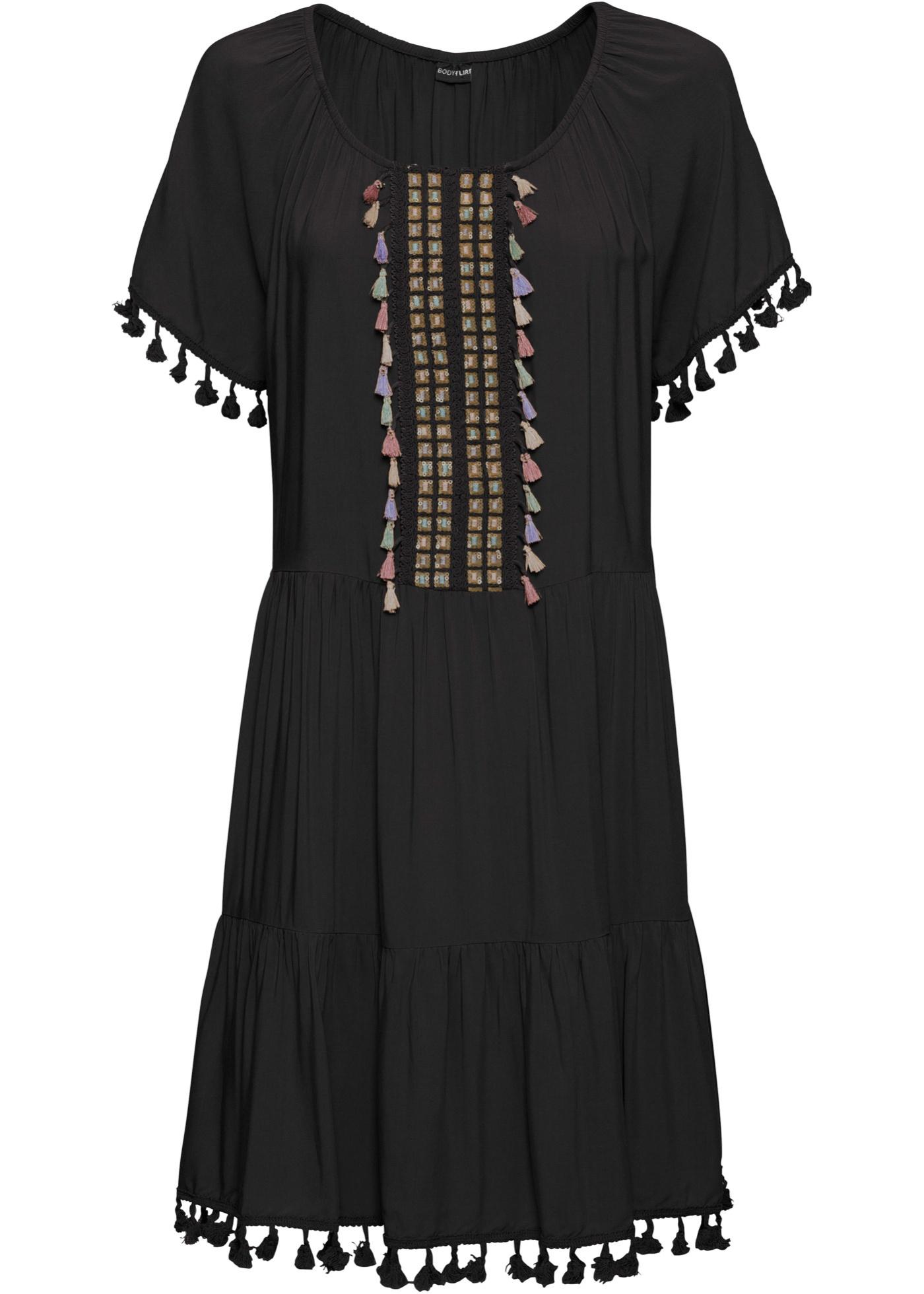 Tunika-Kleid mit Applikationen halber Arm  in schwarz für Damen von bonprix