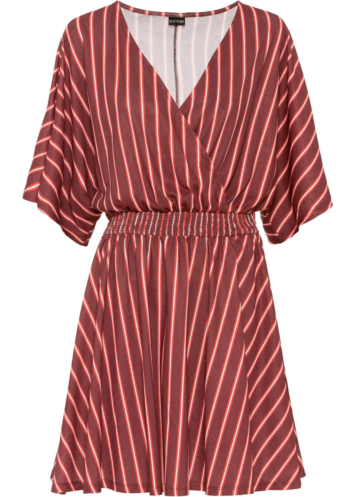 Kleid halber Arm  in rot (V-Ausschnitt) für Damen von bonprix
