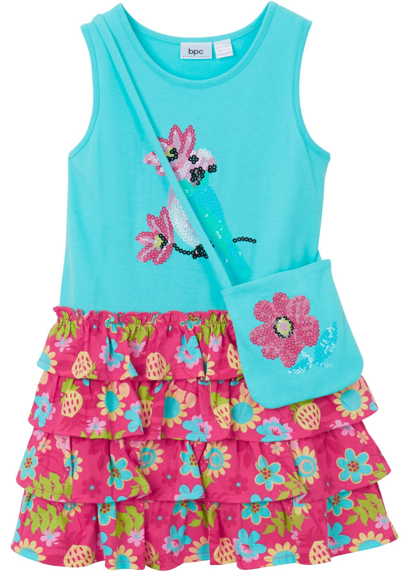 Mädchen Jerseykleid mit Tasche (2-tlg.) ohne Ärmel  in blau für Mädchen von bonprix