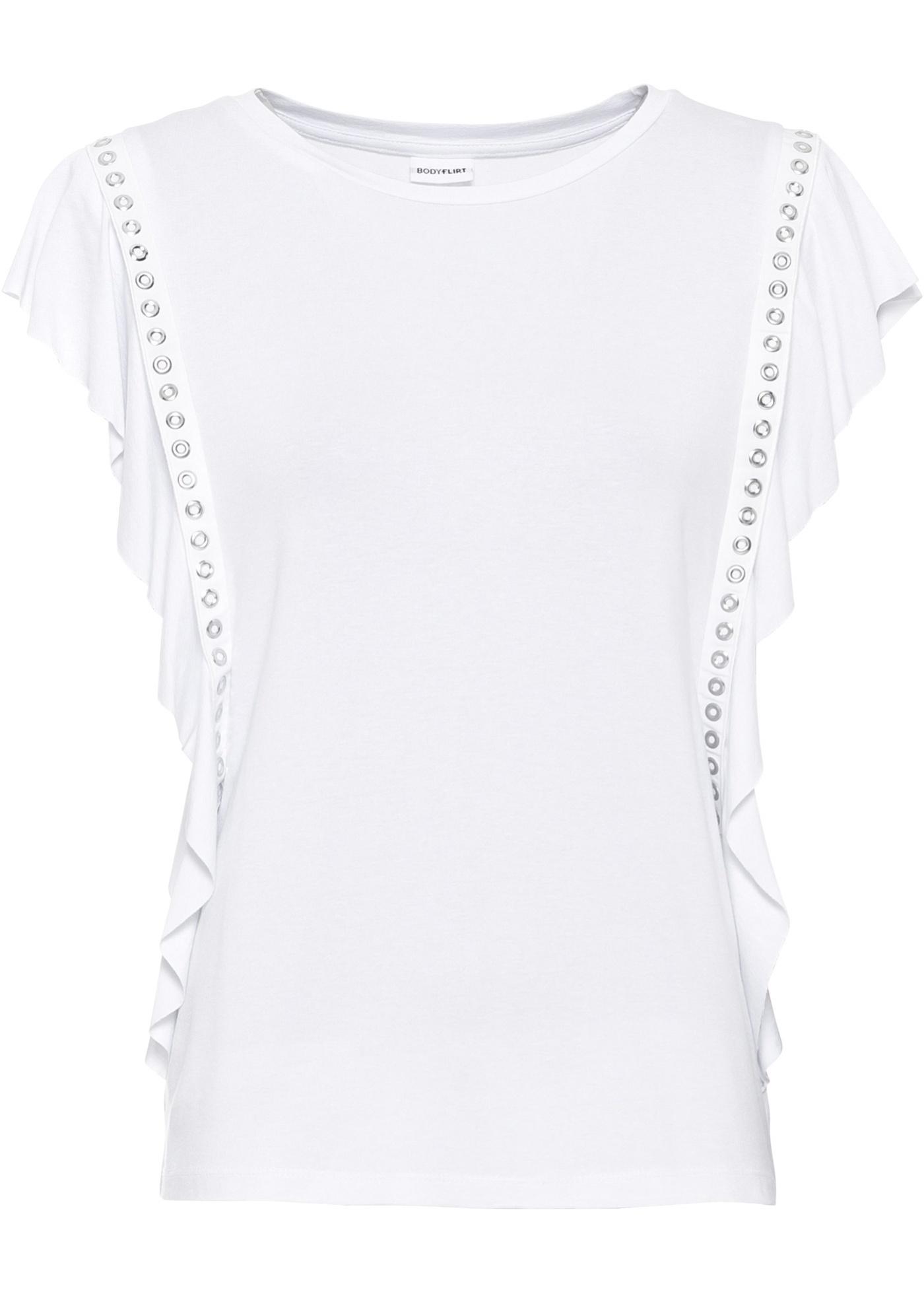 Shirt mit Nieten ohne Ärmel  in weiß für Damen von bonprix