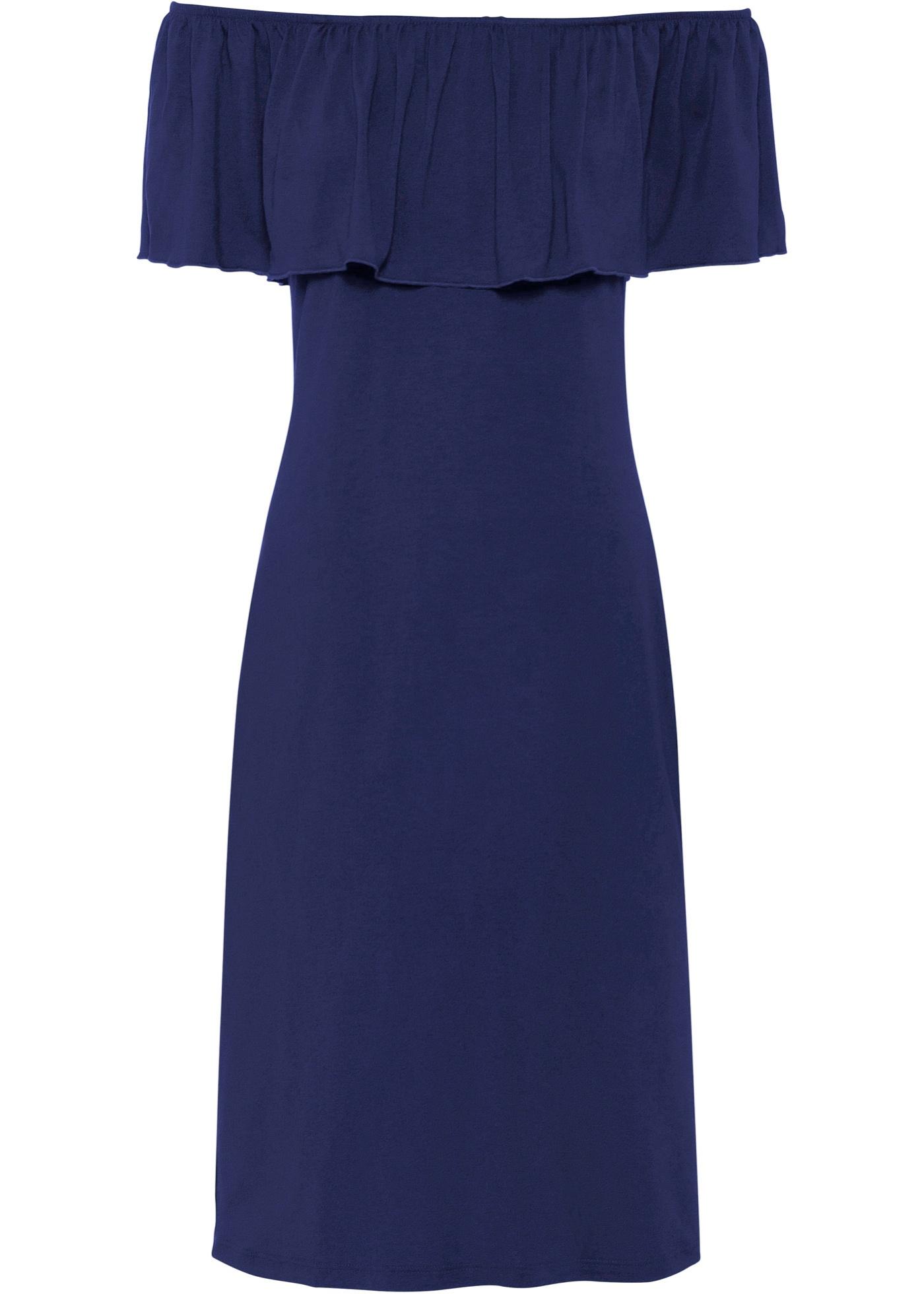 Festtagsmode - Sommer Carmen Kleid aus Jersey › bonprix › blau  - Onlineshop Bonprix