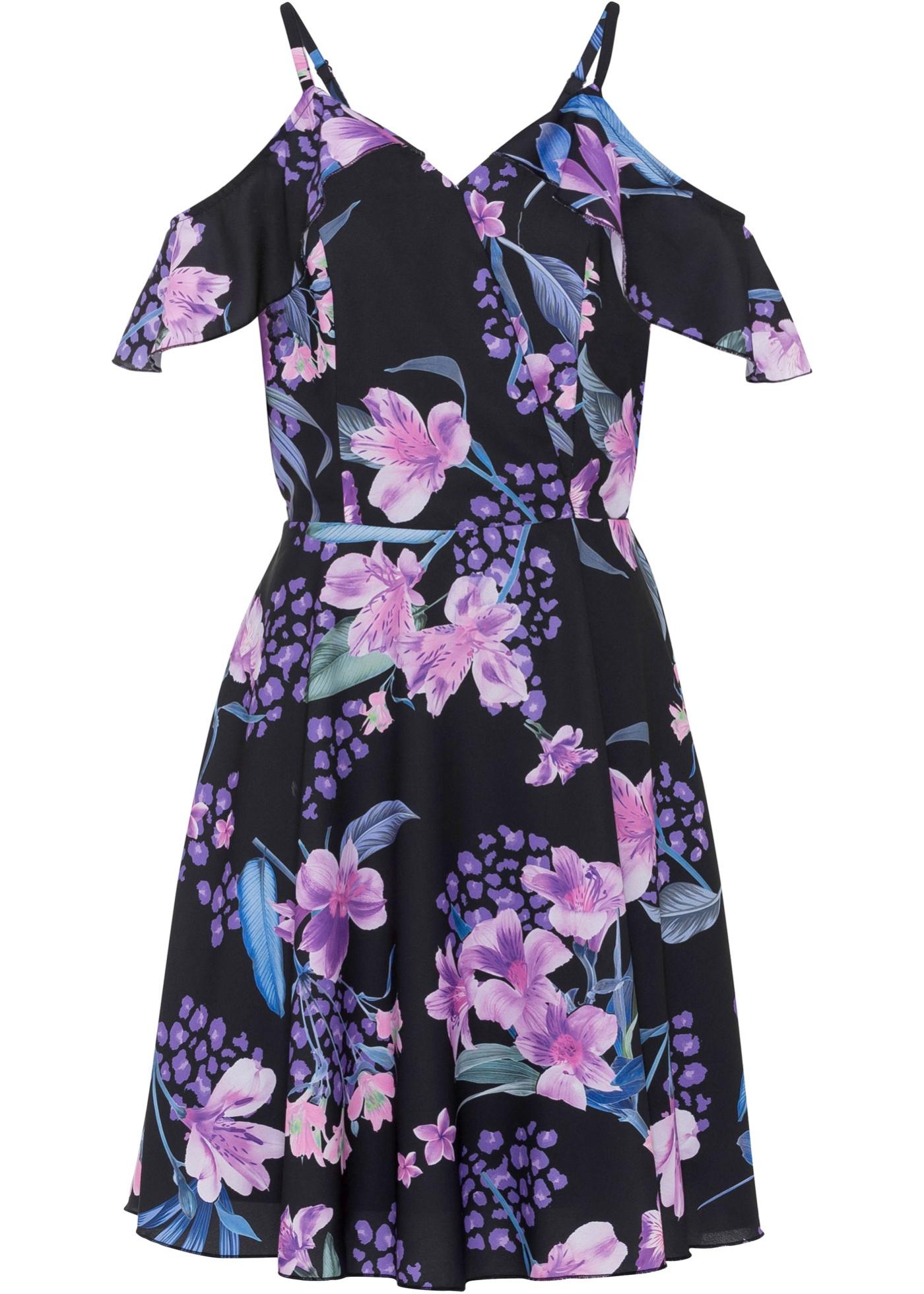 bedrucktes Kleid ohne Ärmel  in schwarz für Damen von bonprix