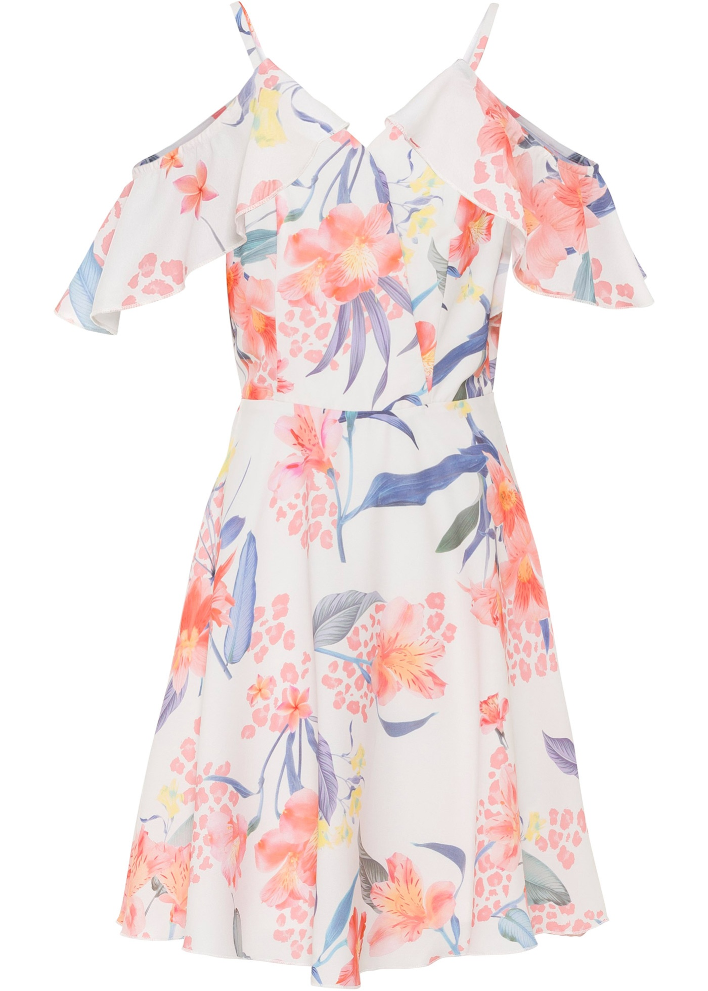 bedrucktes Kleid ohne Ärmel  in weiß für Damen von bonprix