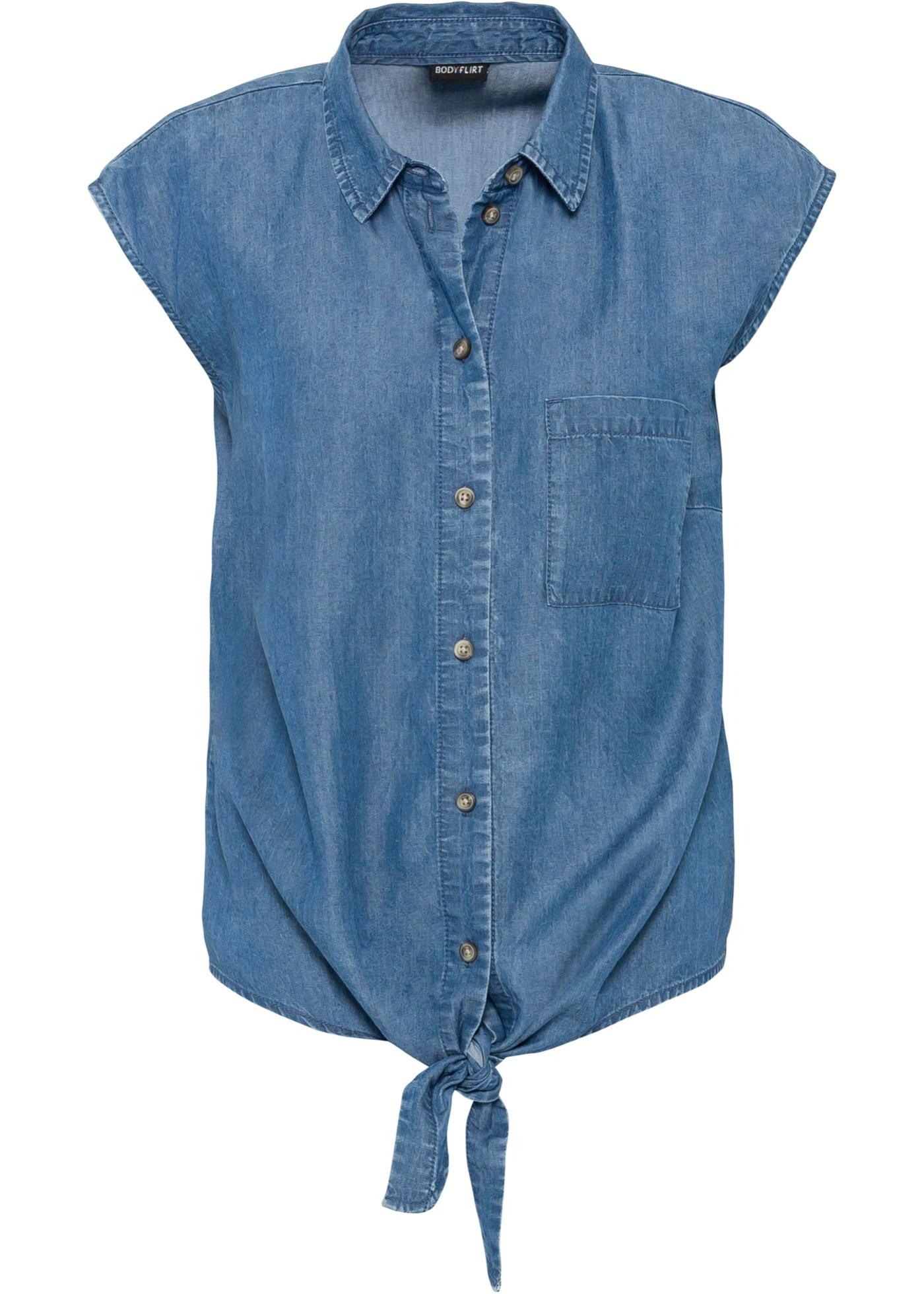 Tencel-Bluse mit Knotendetail langarm  in blau für Damen von bonprix
