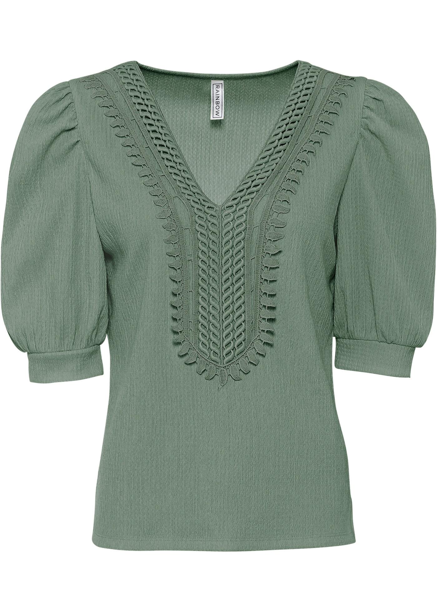 Shirt mit V-Ausschnitt und Puffärmeln halber Arm  in grün für Damen von bonprix