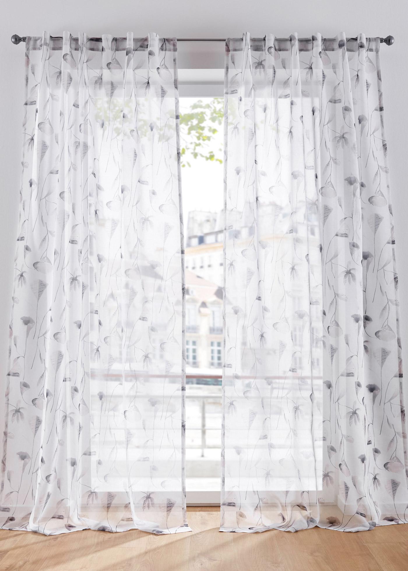 Transparente Gardine mit floralem Druck (1er Pack) in weiß von bonprix