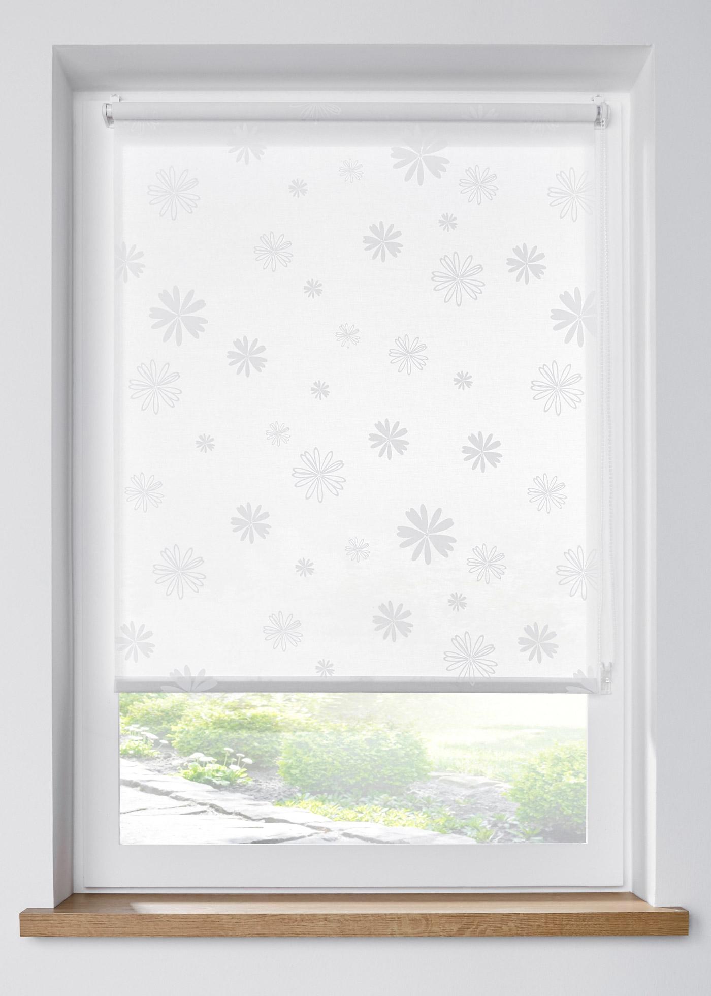 Sichtschutzrollo mit Blumen Druck in weiß von bonprix