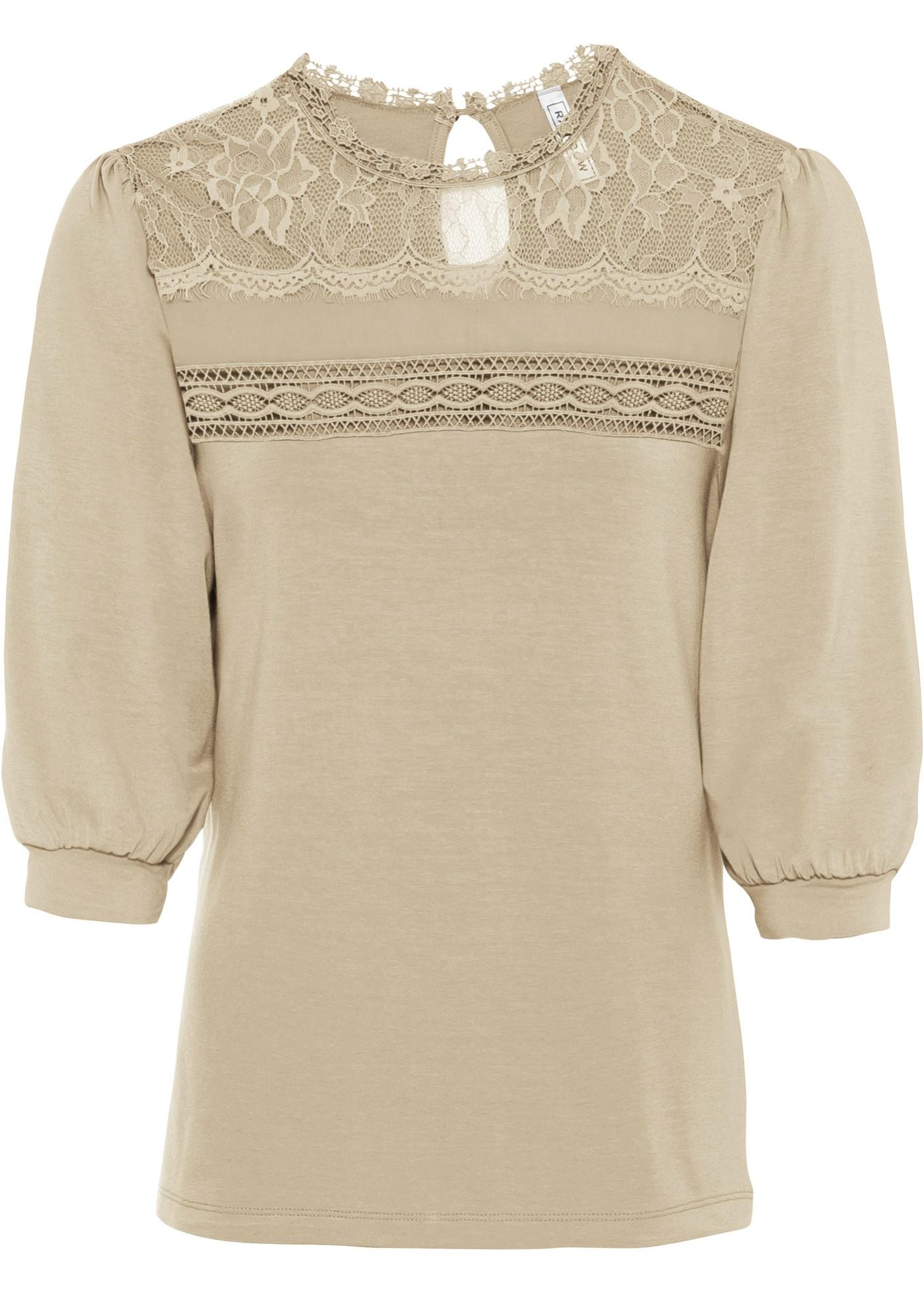 Shirt mit Spitze und leichten Puffärmeln kurzer Arm  in grau für Damen von bonprix