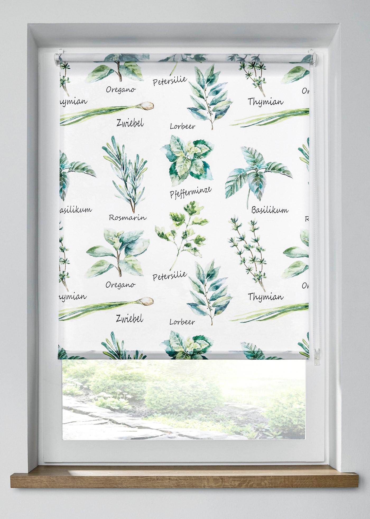 Sichtschutzrollo mit Kräuter Motiven in weiß von bonprix