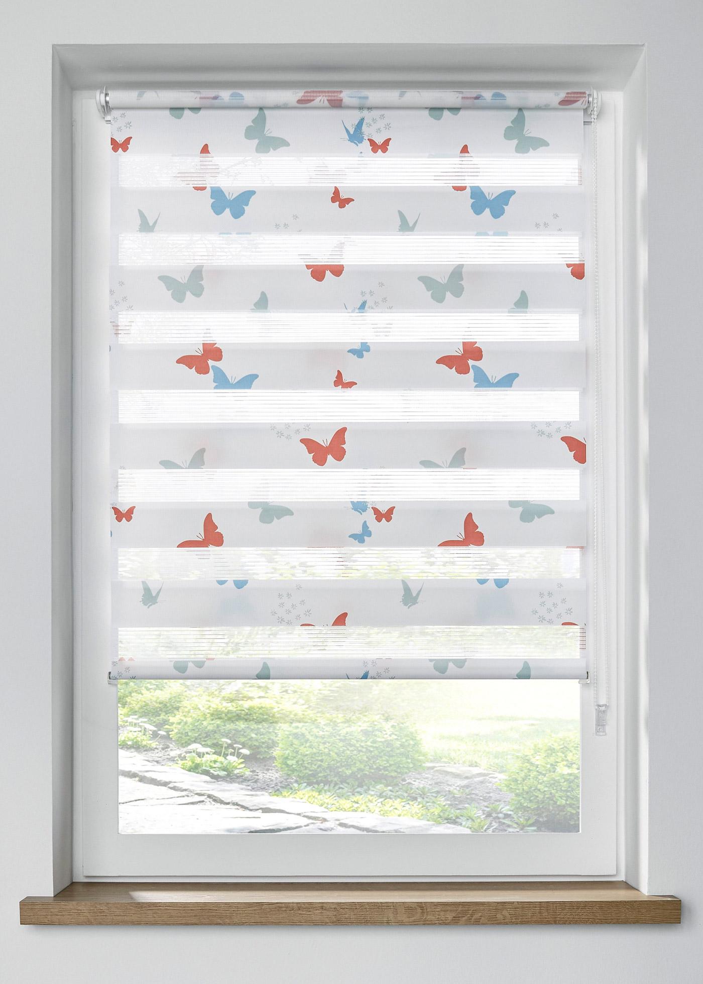 Doppelrollo mit Schmetterling Druck in weiß von bonprix