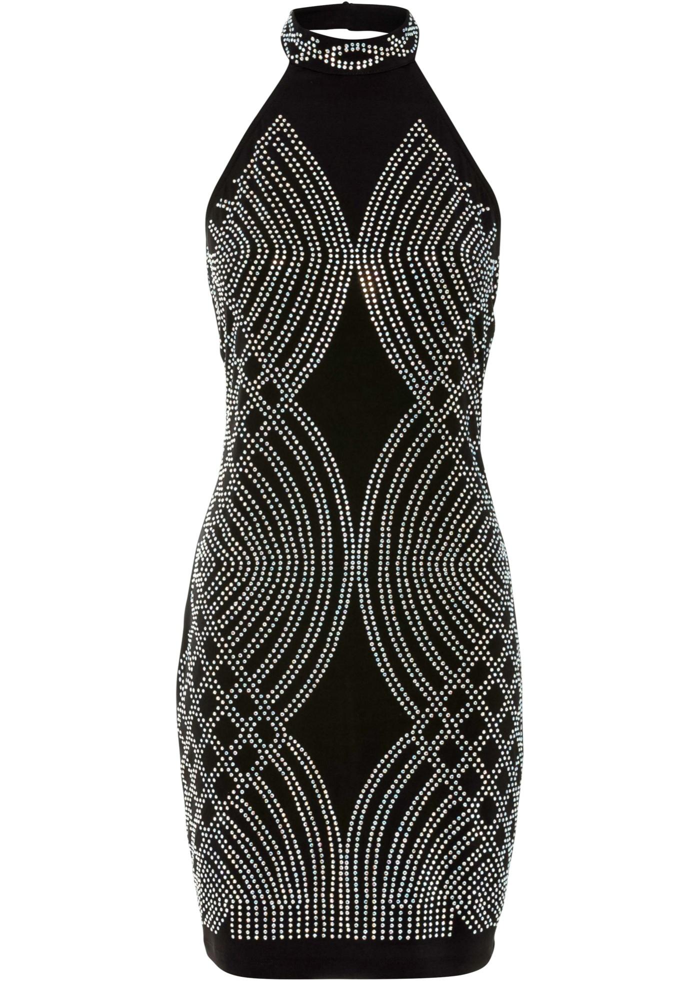 Party Neckholder-Kleid mit Strassteinen ohne Ärmel  in schwarz für Damen von bonprix