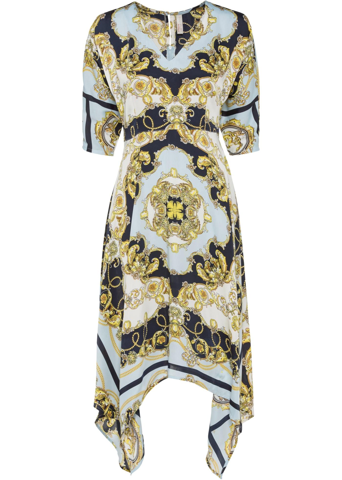 Kleid mit Print Flügelärmel  in blau für Damen von bonprix