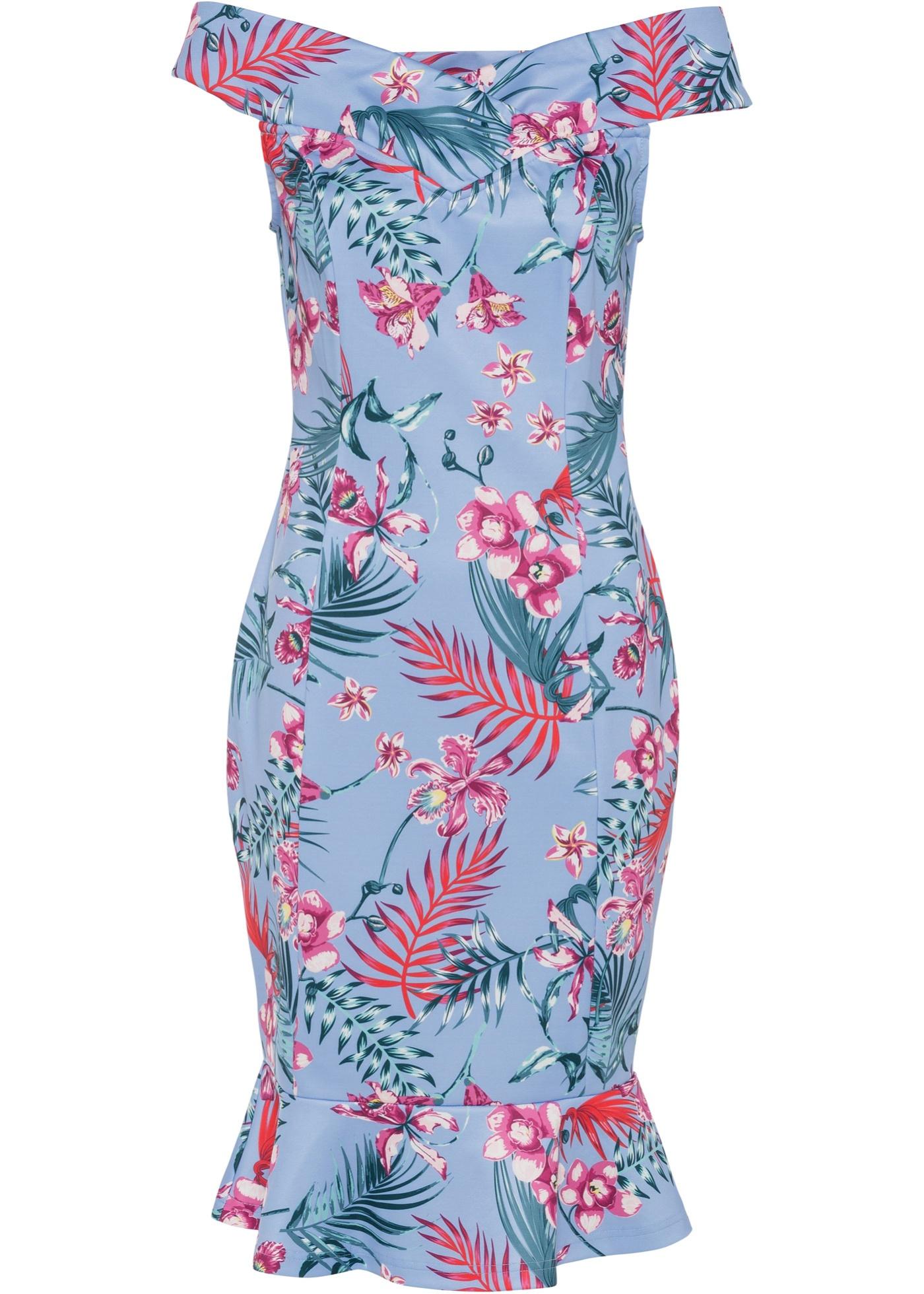 Shirtkleid mit Blumenprint ohne Ärmel  in blau für Damen von bonprix