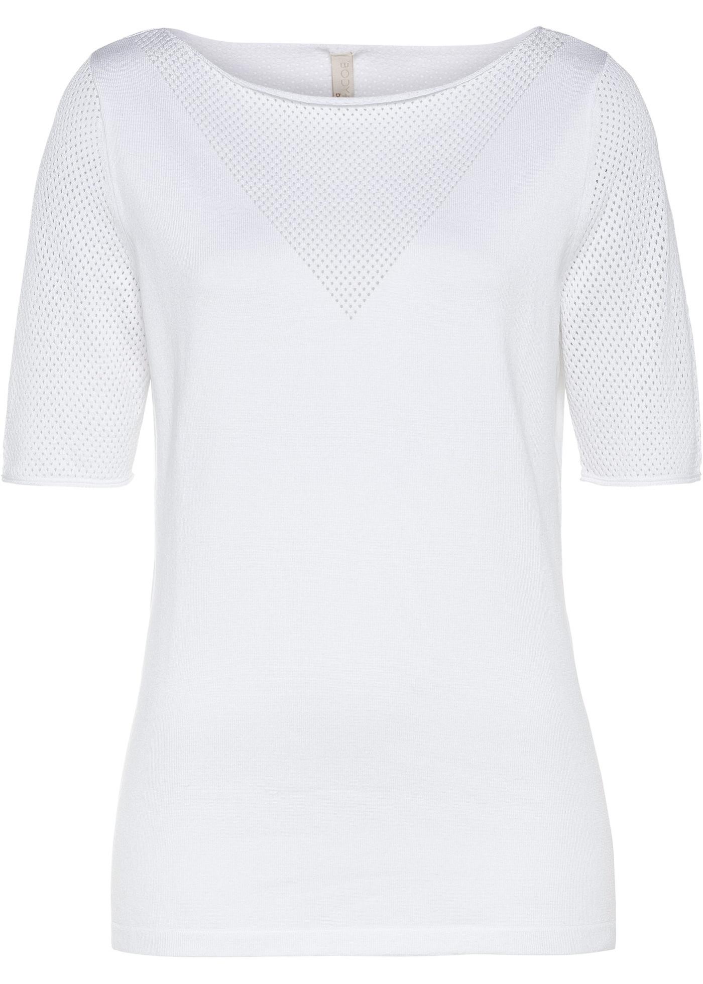 Strickshirt halber Arm  in weiß für Damen von bonprix