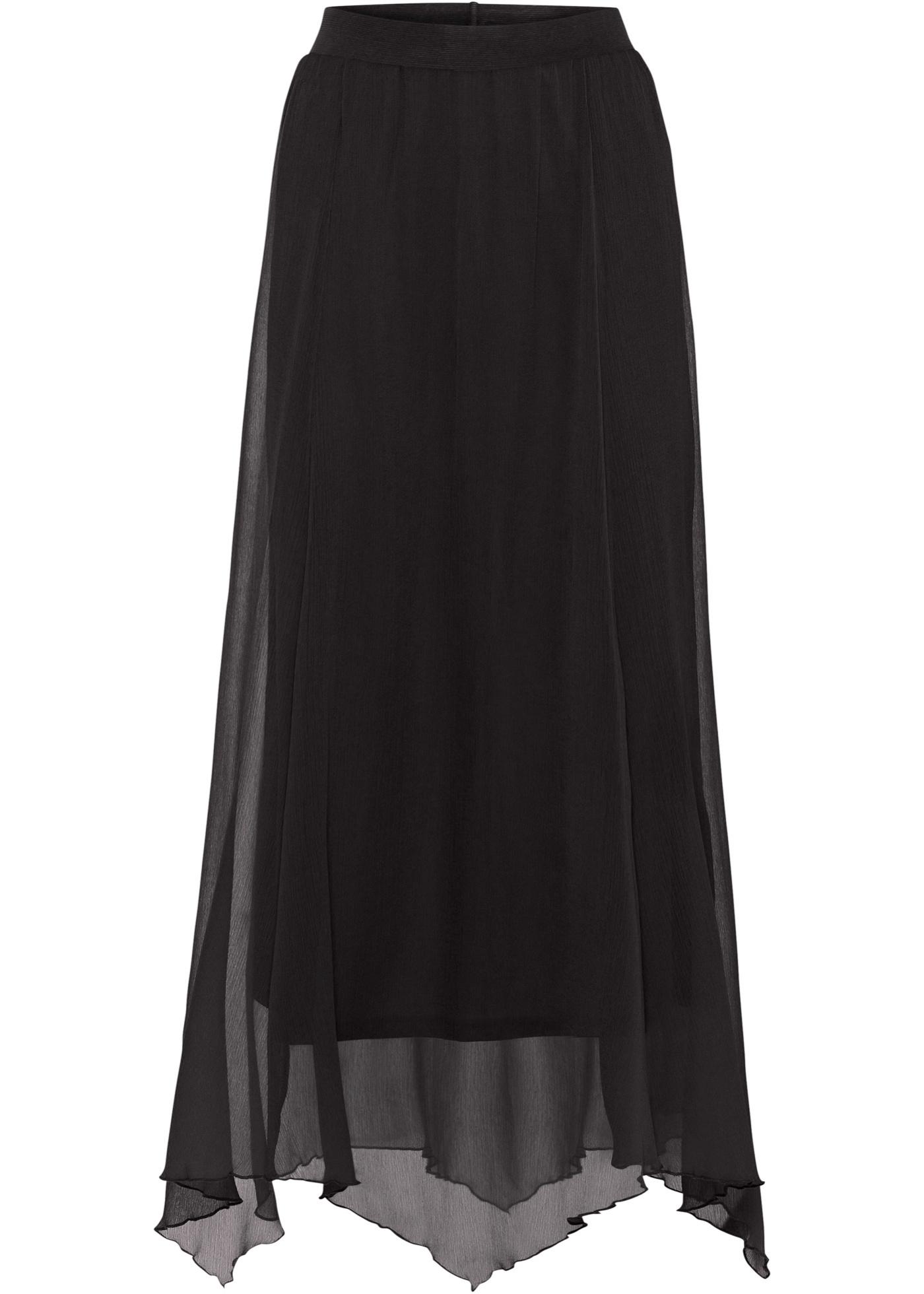 Chiffon-Maxirock in schwarz für Damen von bonprix
