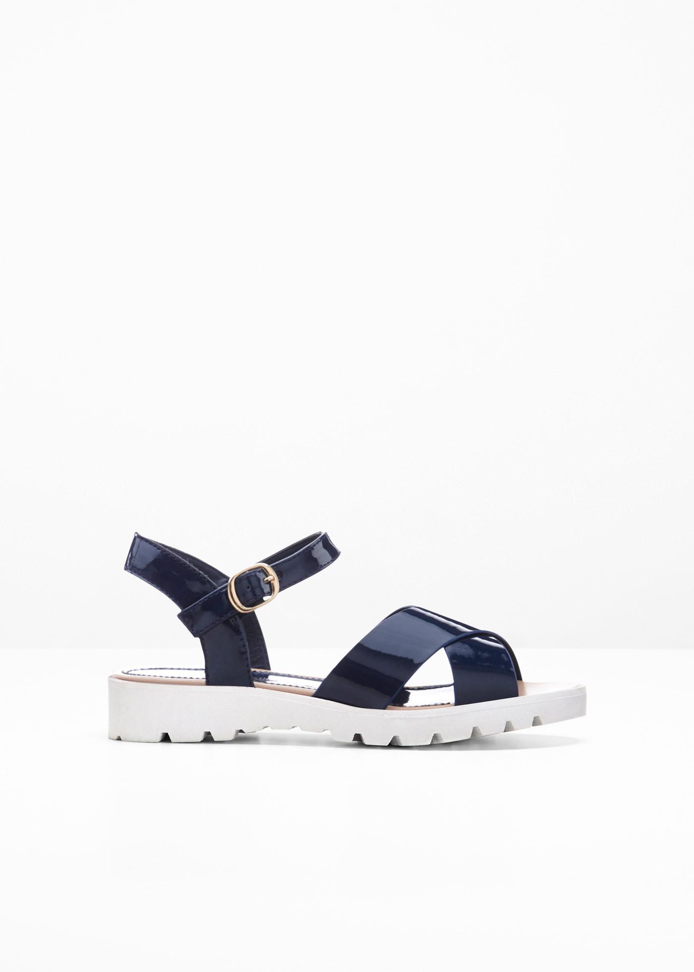 Sandale mit 0 cm Flach in blau von bonprix
