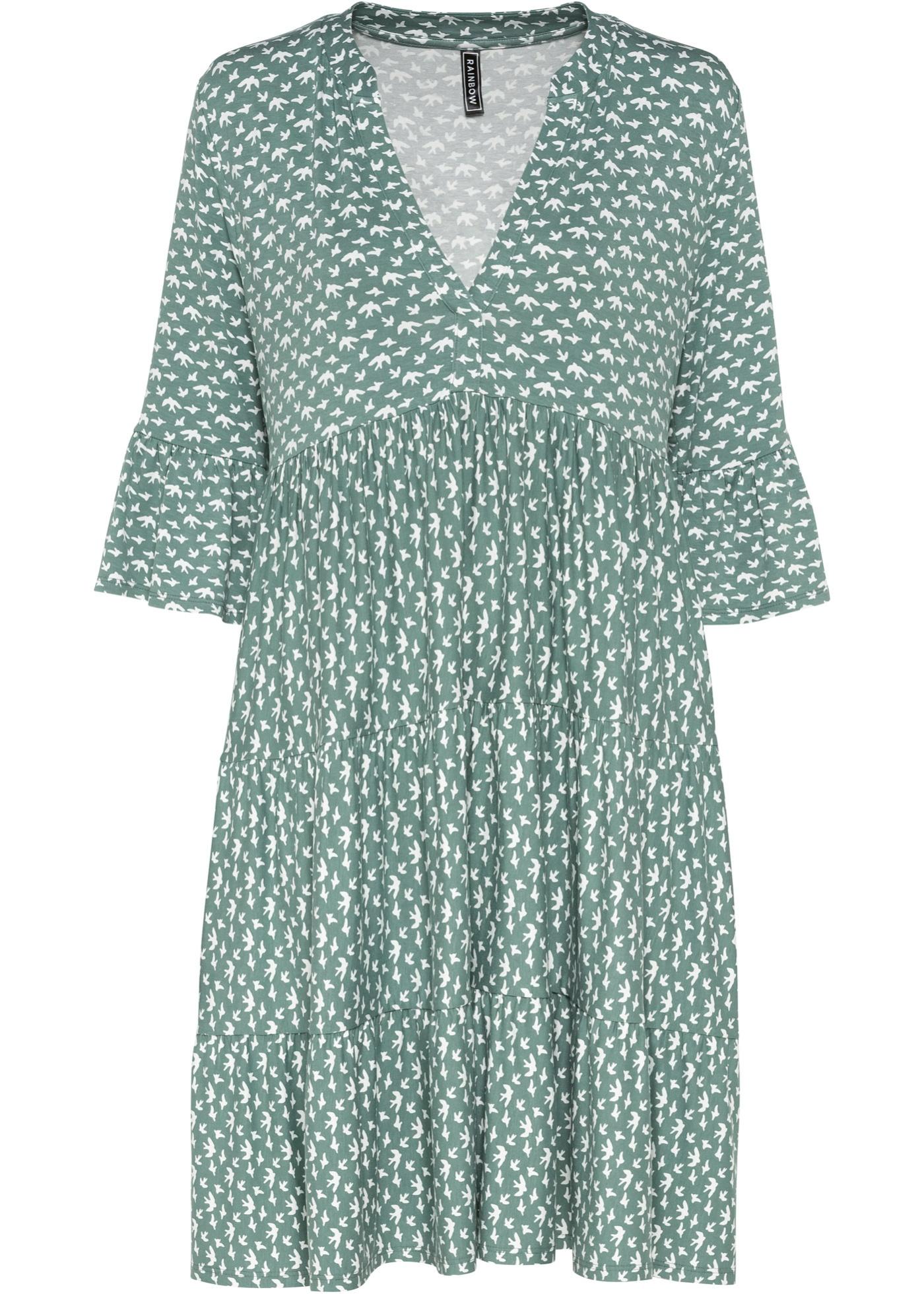 Gemustertes Kleid mit V-Ausschnitt