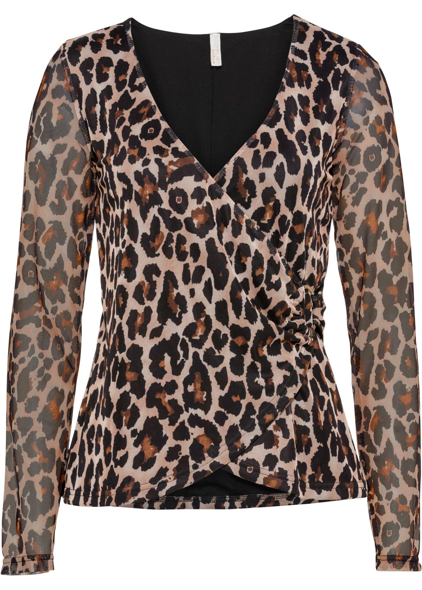 Mesh-Shirt, leo bedruckt langarm  in schwarz für Damen von bonprix
