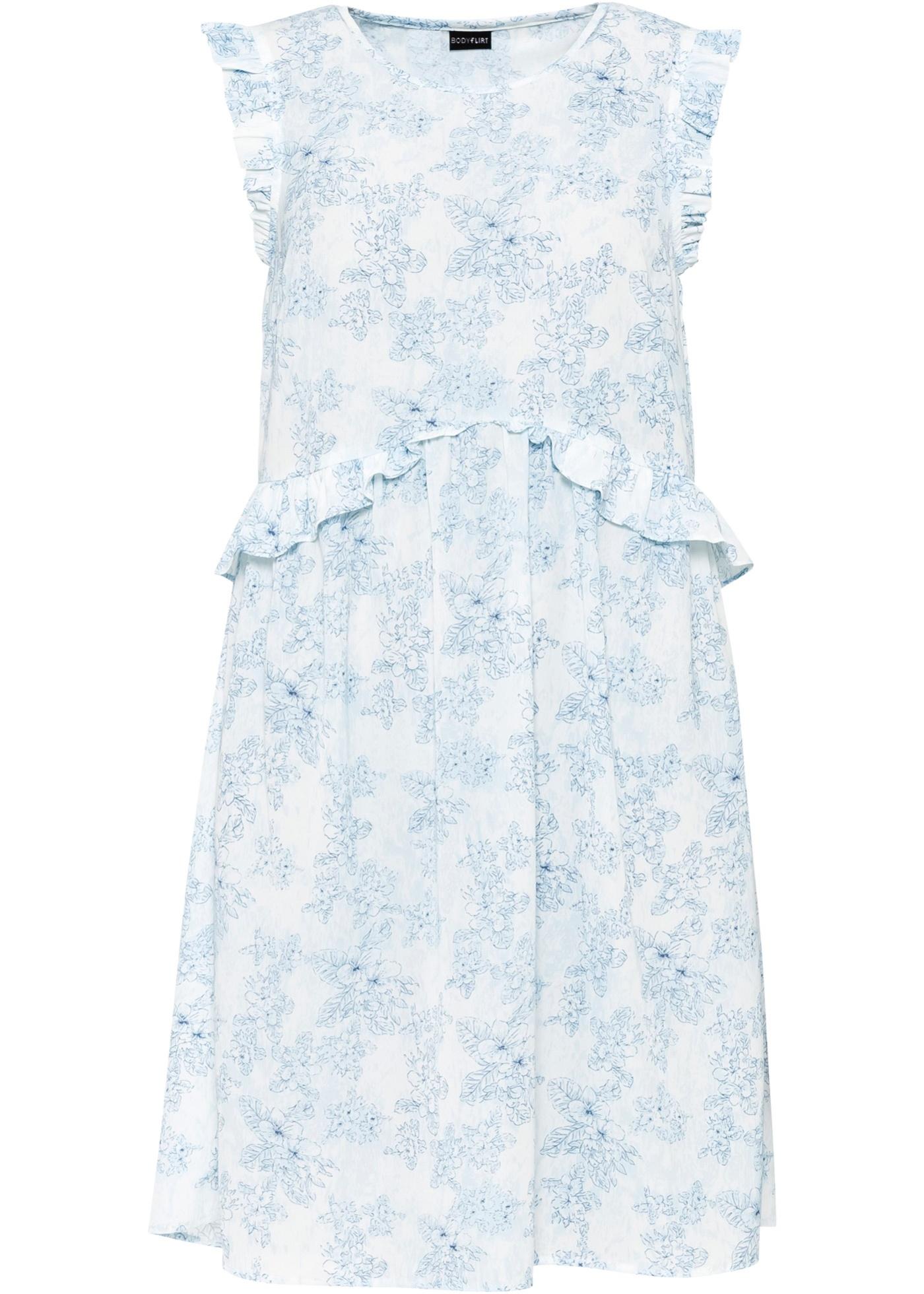 Kleid mit Volants ohne Ärmel  in blau für Damen von bonprix
