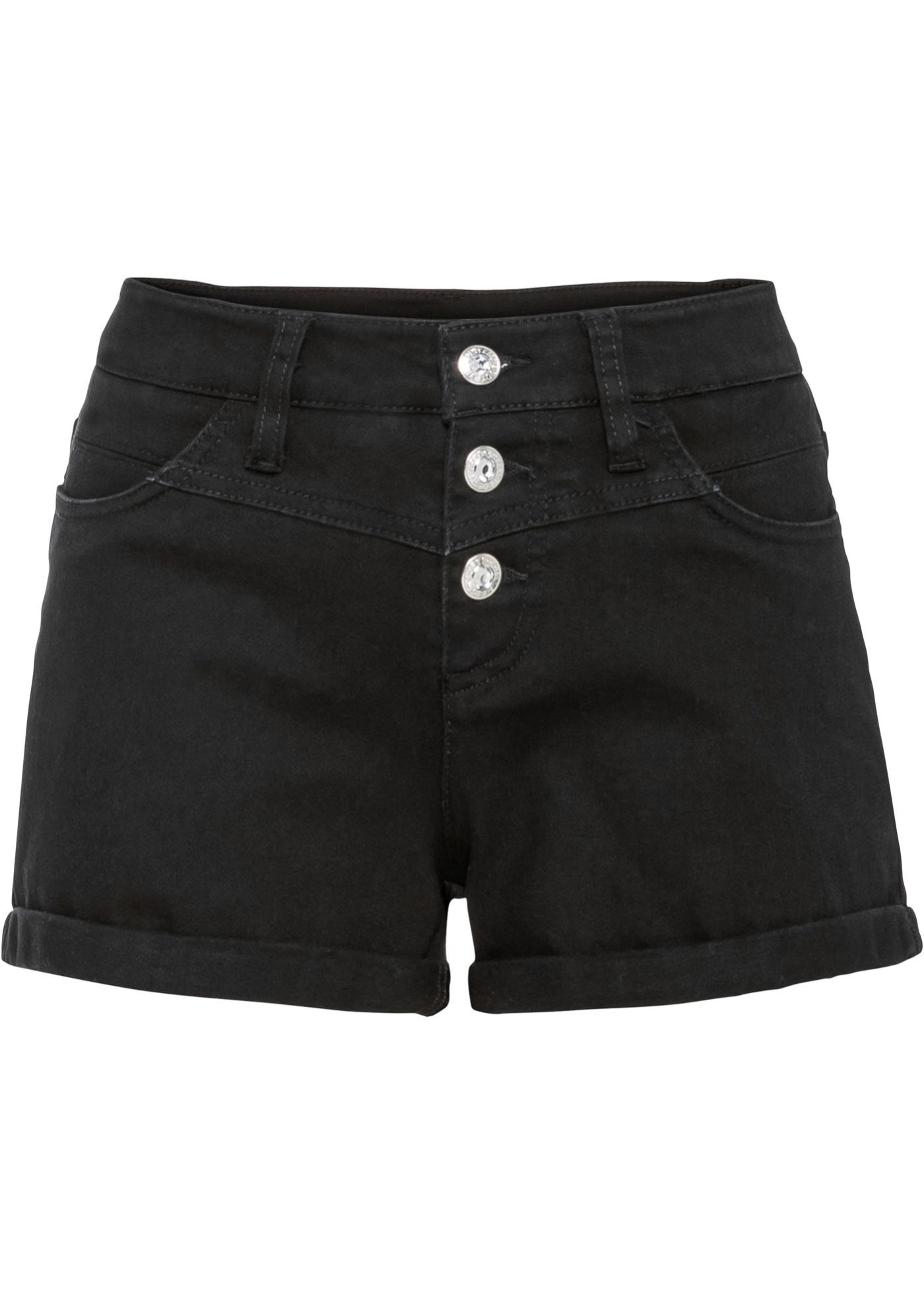 Jeans-Shorts in schwarz für Damen von bonprix