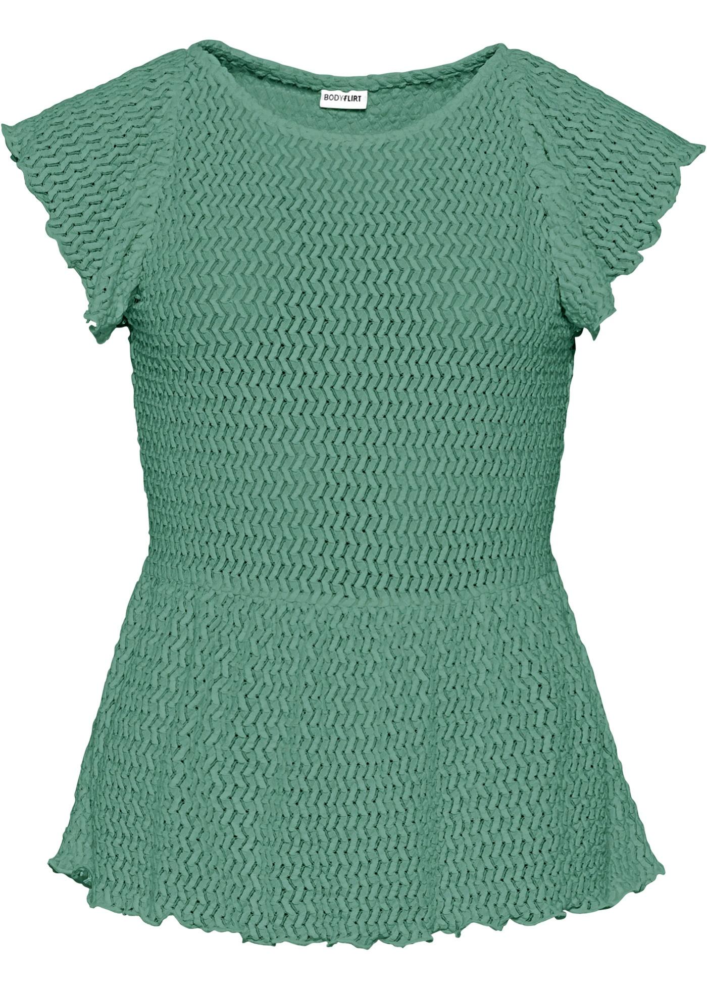 Shirt kurzer Arm  in grün (Rundhals) für Damen von bonprix
