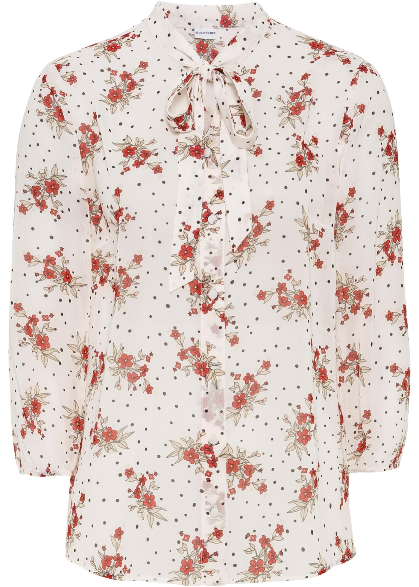 Chiffon-Bluse 3/4 Arm  in weiß für Damen von bonprix