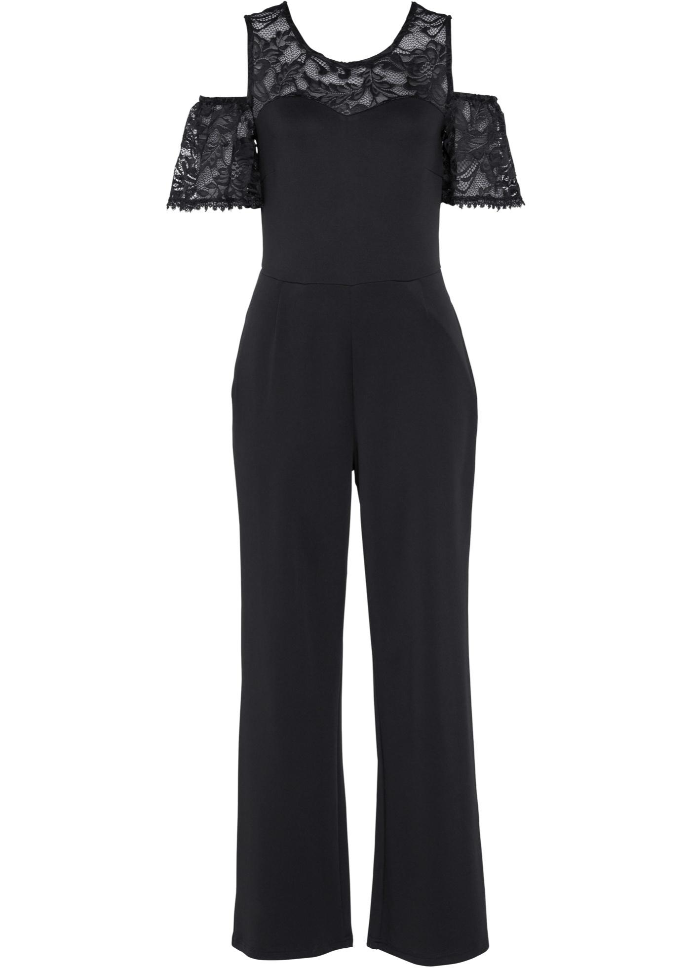 Jumpsuit mit Spitze, lang kurzer Arm  in schwarz für Damen von bonprix