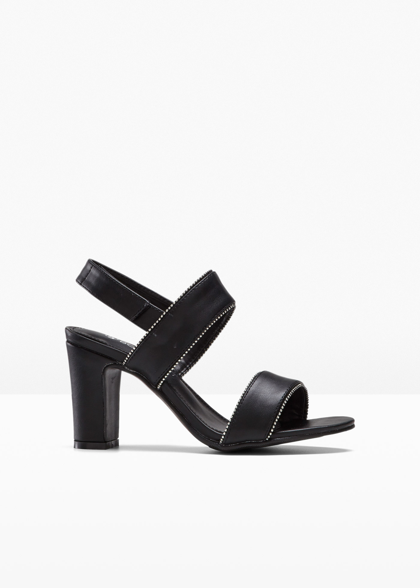 Sandalette mit 8 cm Blockabsatz in schwarz von bonprix