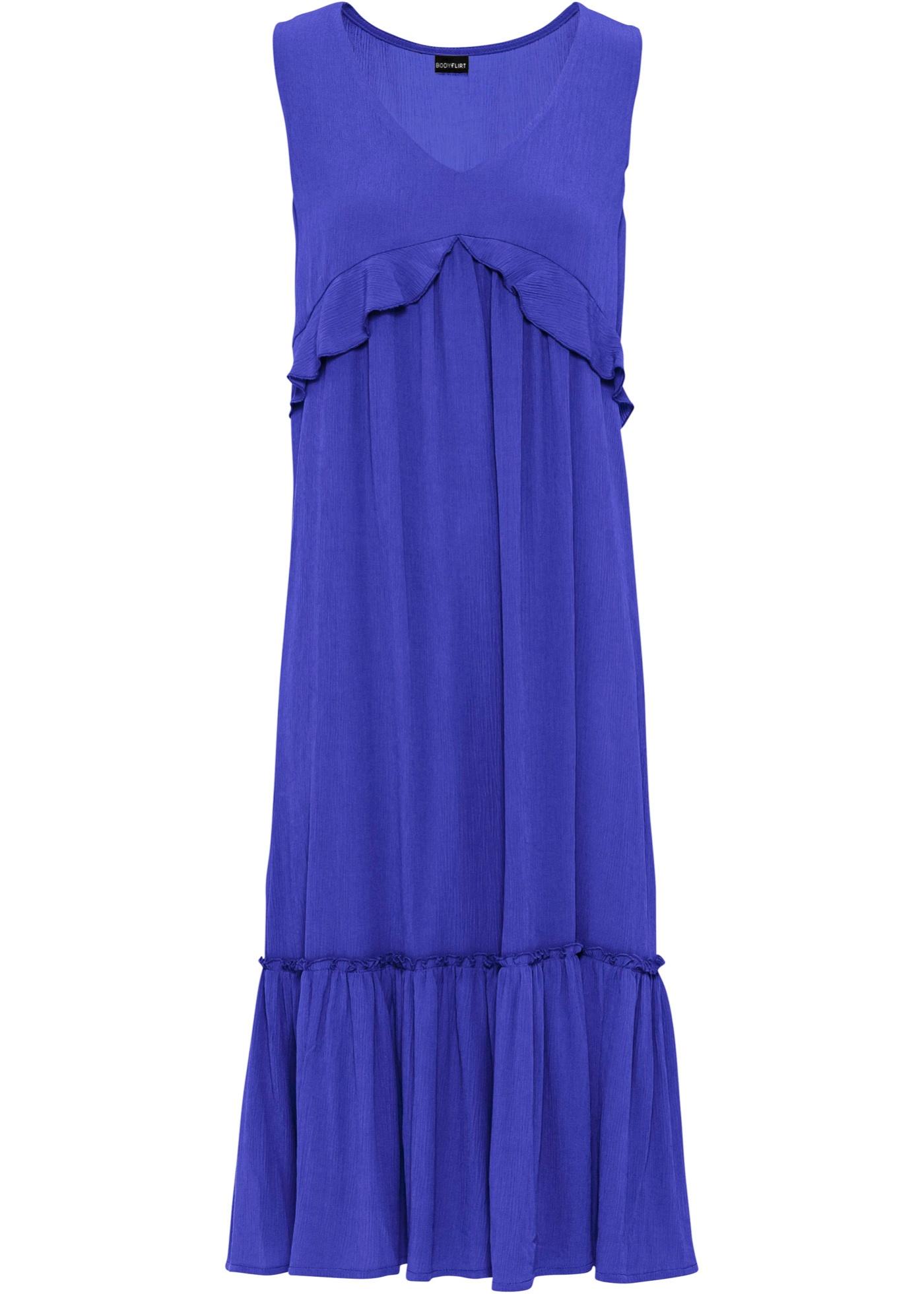 Kleid mit Volants ohne Ärmel  in lila für Damen von bonprix