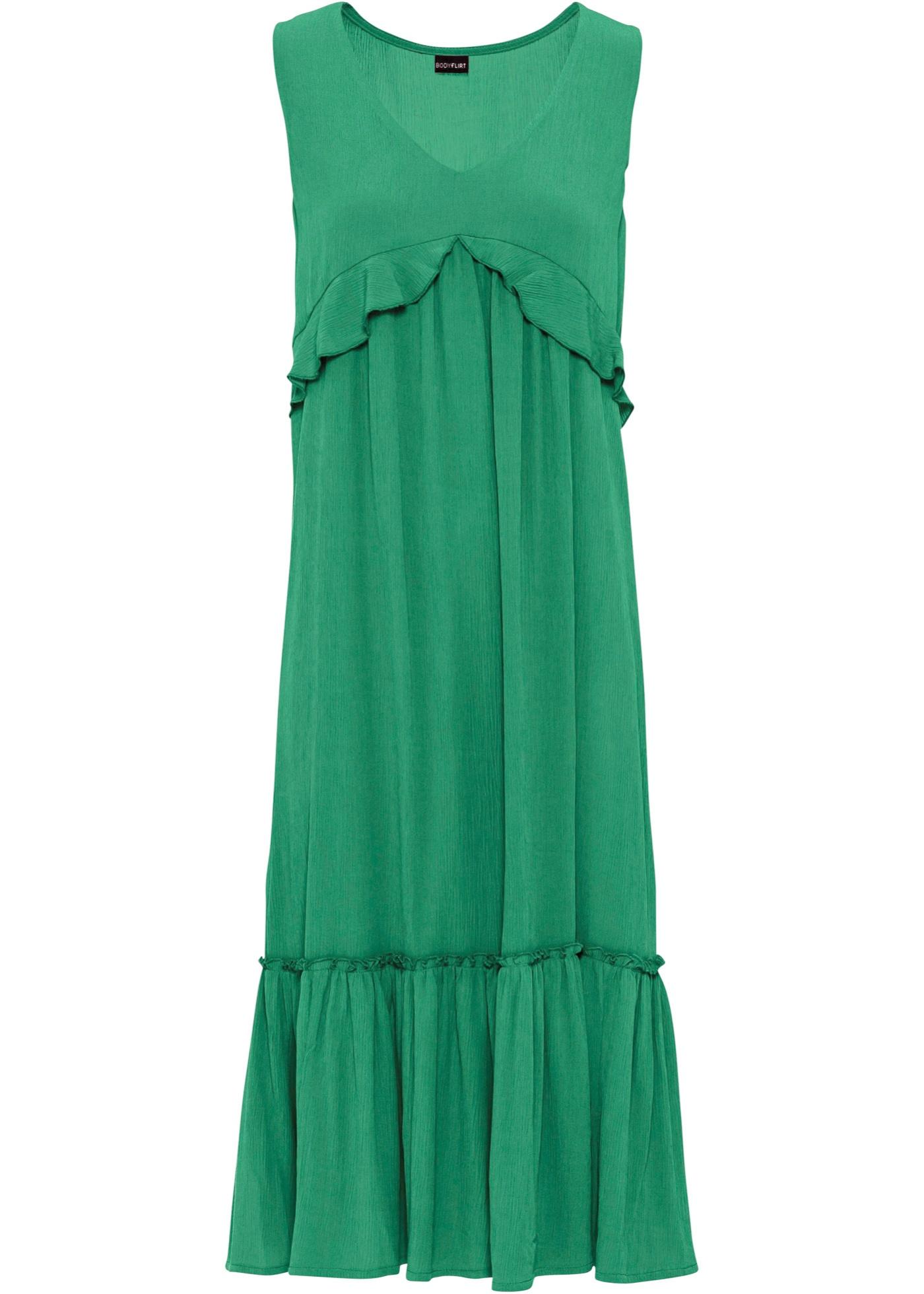 Kleid mit Volants ohne Ärmel  in grün für Damen von bonprix