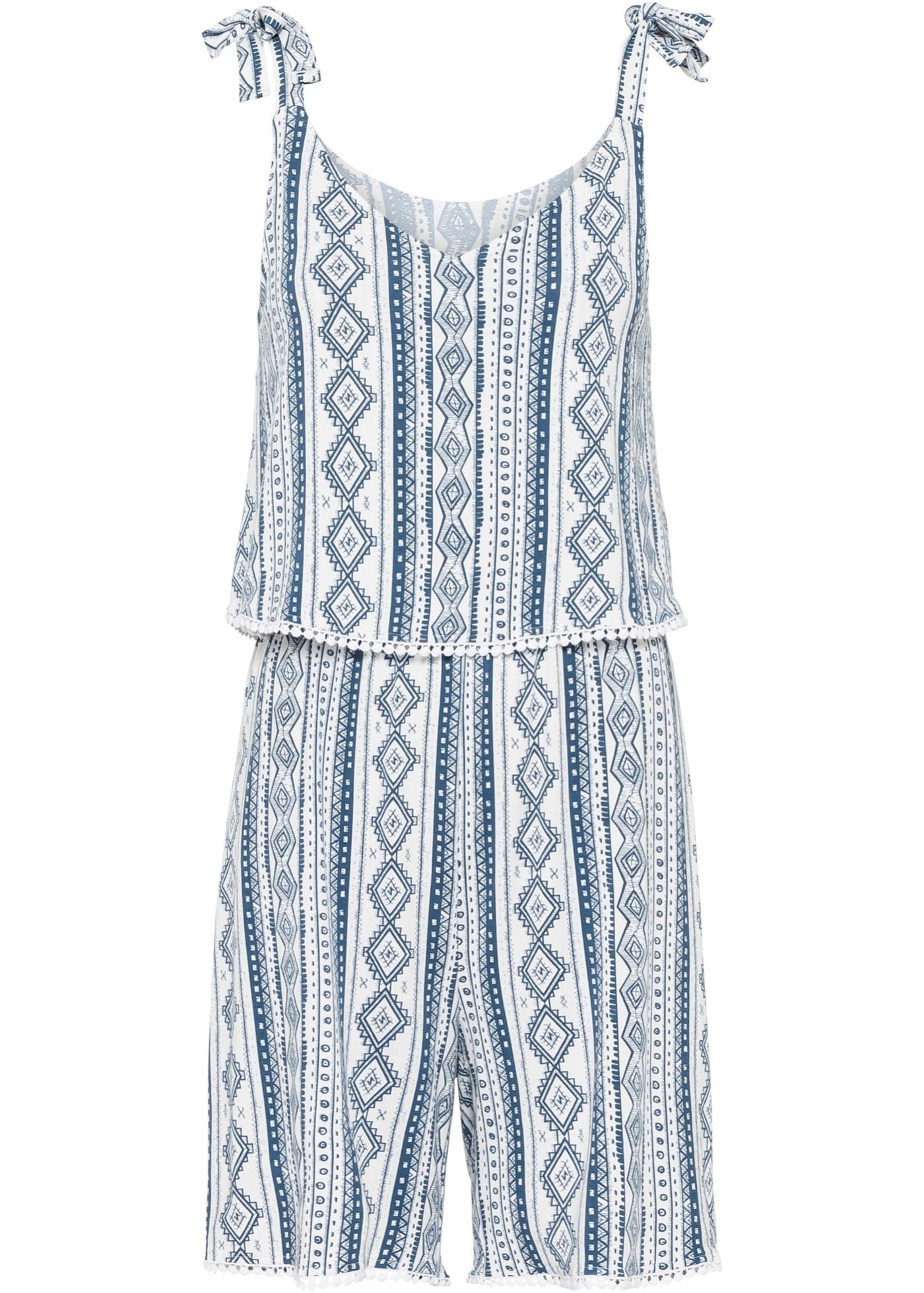 Kurzer Jumpsuit mit Spaghetti-Trägern ohne Ärmel  in weiß für Damen von bonprix