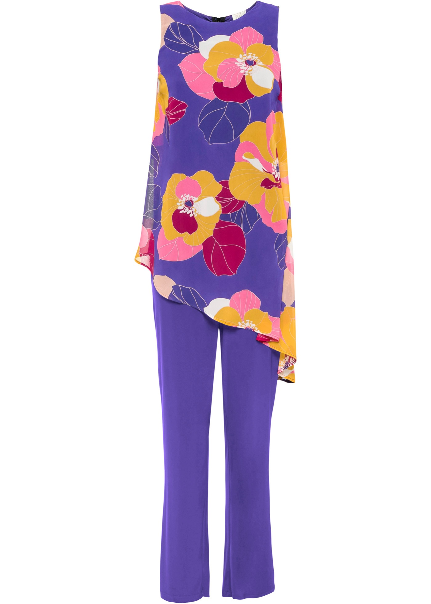 Jumpsuit mit Blumen Print ohne Ärmel  in lila für Damen von bonprix