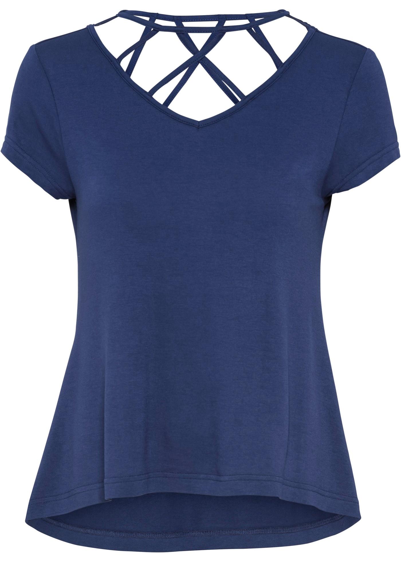 Shirt mit Schnürung Flügelärmel  in blau für Damen von bonprix
