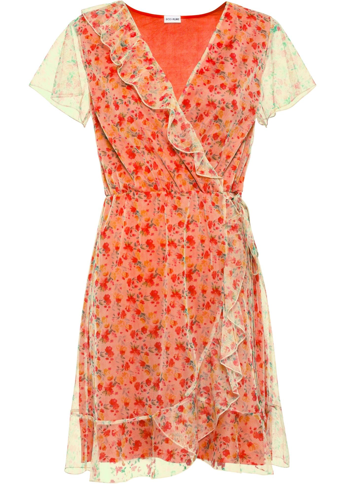 Kleid in Wickeloptik kurzer Arm  in beige für Damen von bonprix