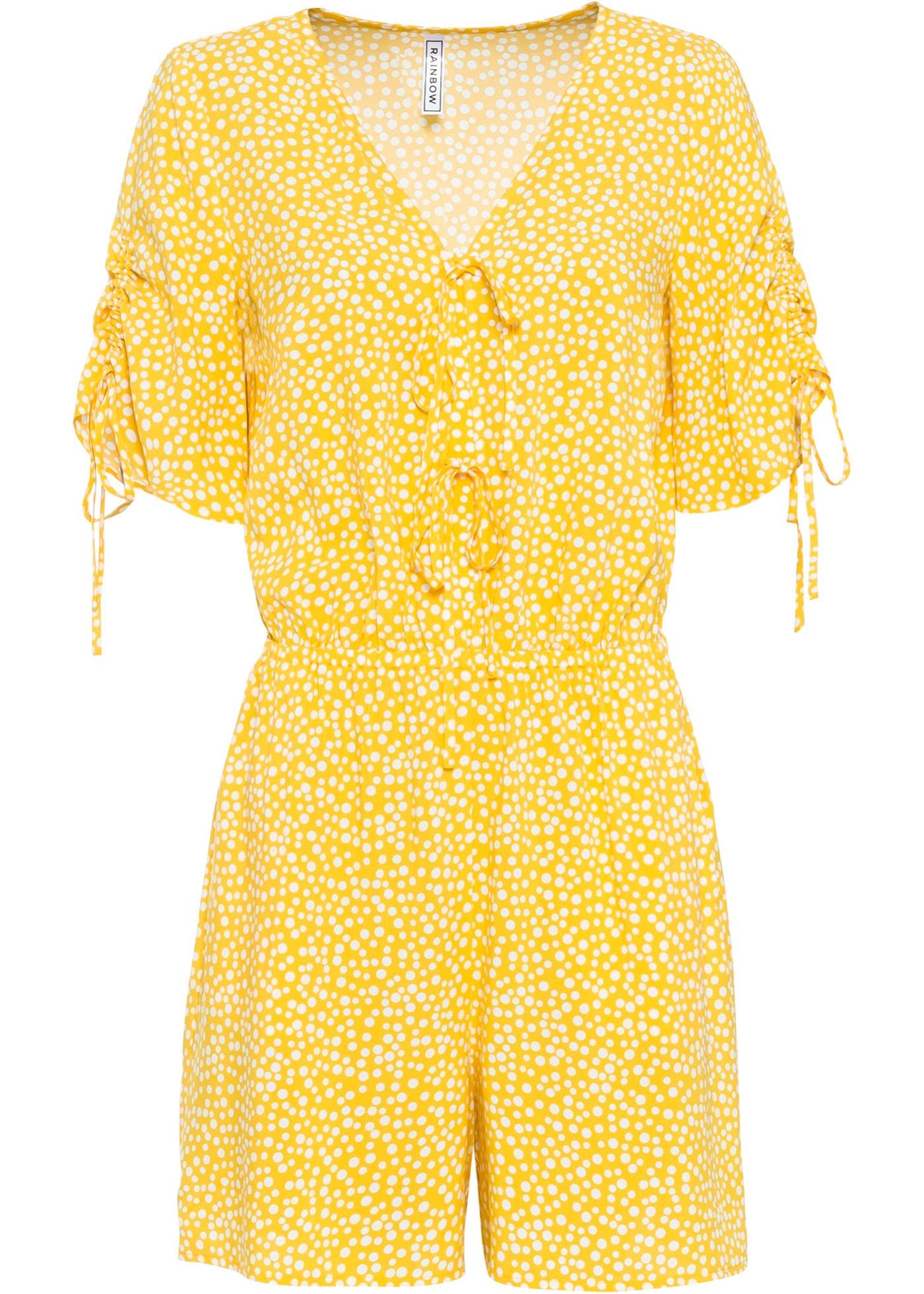 Jumpsuit mit Taschen kurzer Arm  in gelb für Damen von bonprix