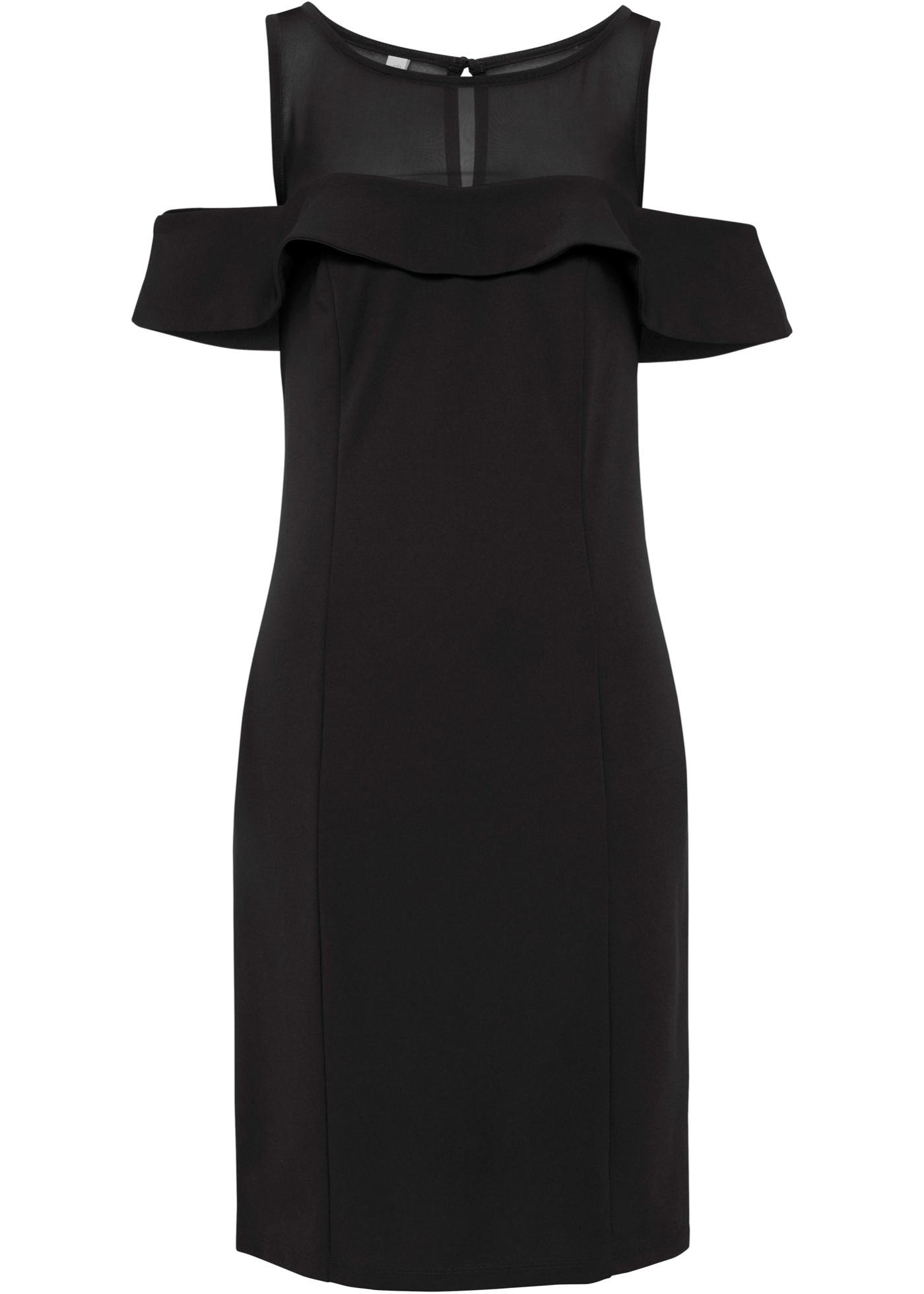 Kleid mit Mesheinsatz langarm  in schwarz für Damen von bonprix