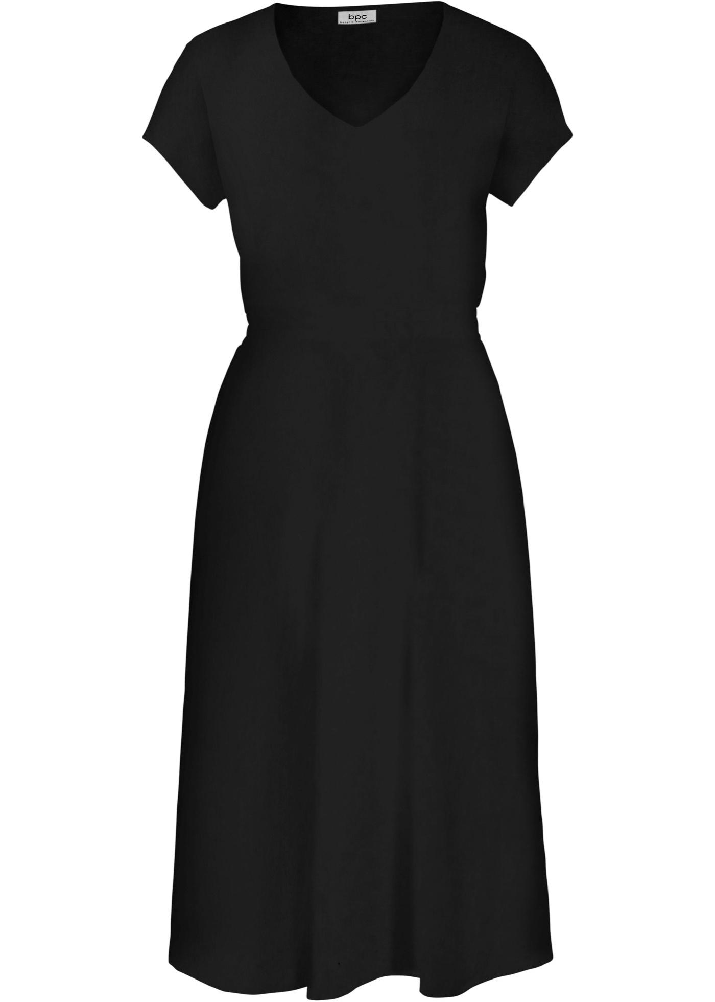 Kleid Flügelärmel  in schwarz (V-Ausschnitt) für Damen von bonprix