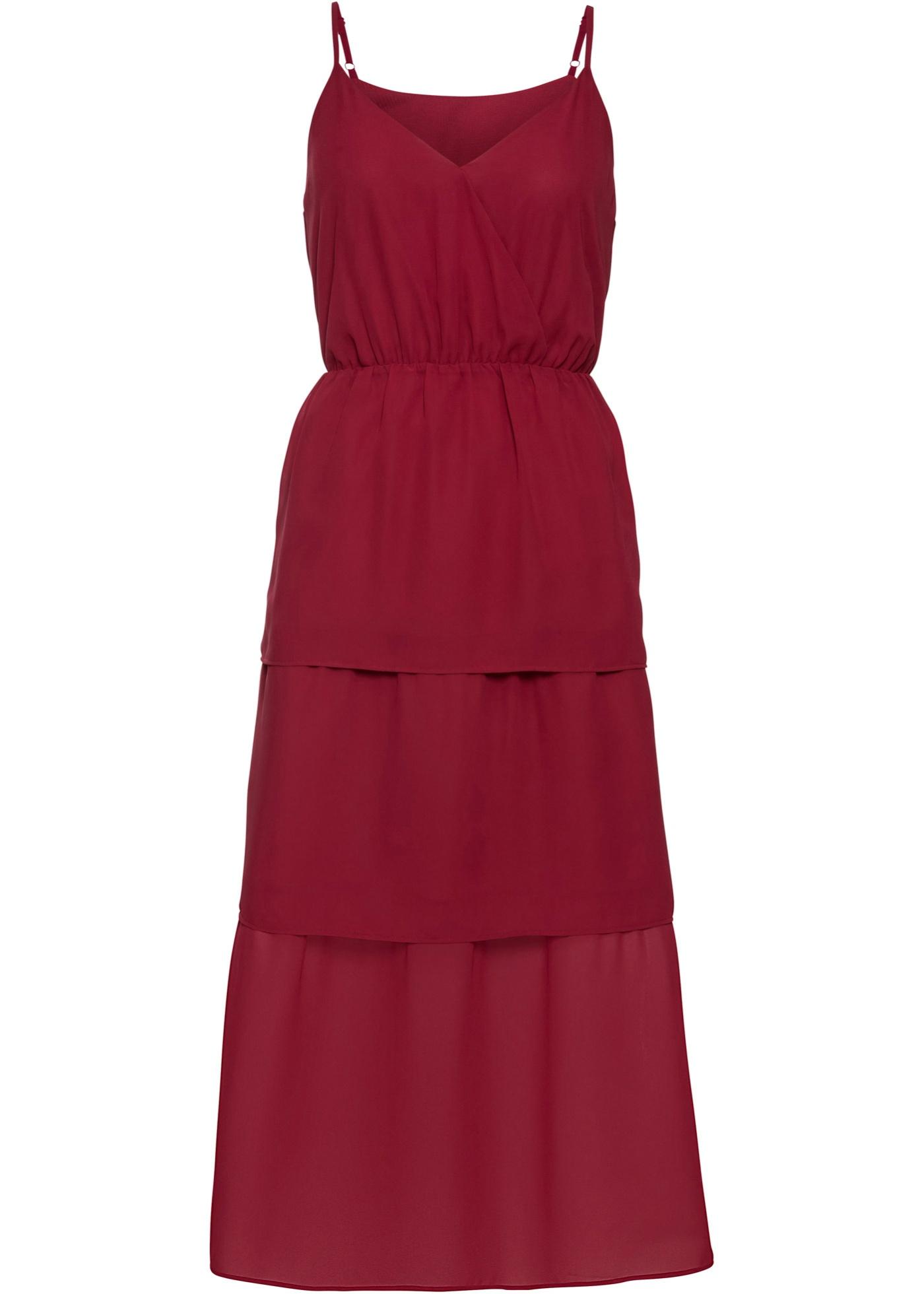 Volant-Kleid ohne Ärmel  in rot für Damen von bonprix