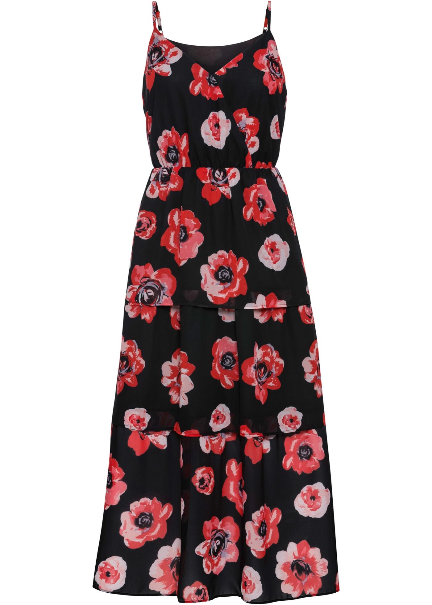 Volant-Kleid ohne Ärmel  in schwarz für Damen von bonprix