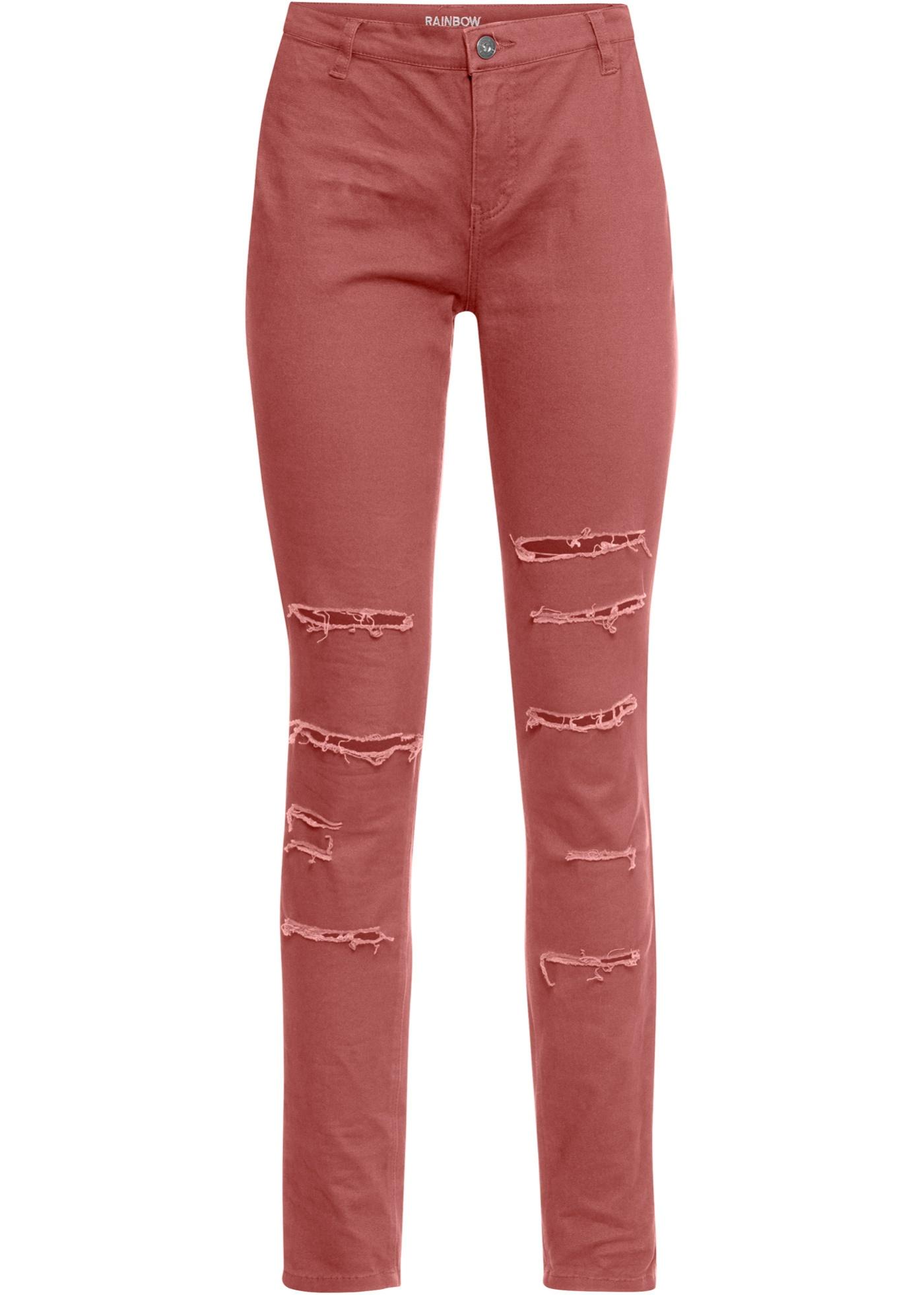 Hose mit Destroyed-Effekt in rot für Damen von bonprix