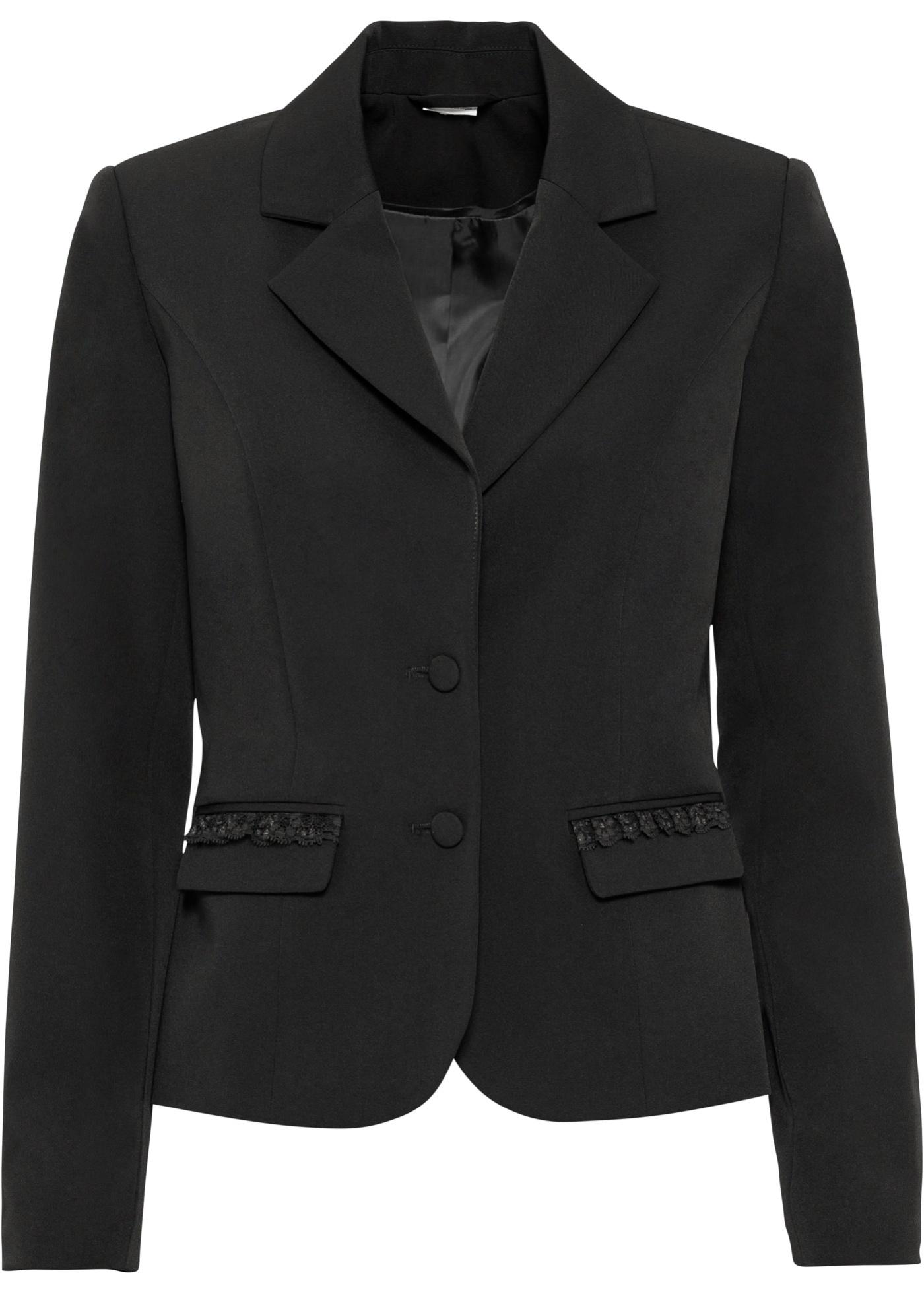 Blazer mit Spitze langarm  in schwarz für Damen von bonprix