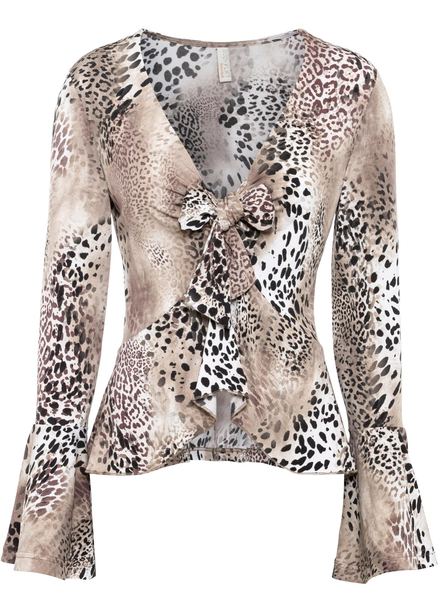 Shirt mit Volants ohne Ärmel  in braun für Damen von bonprix