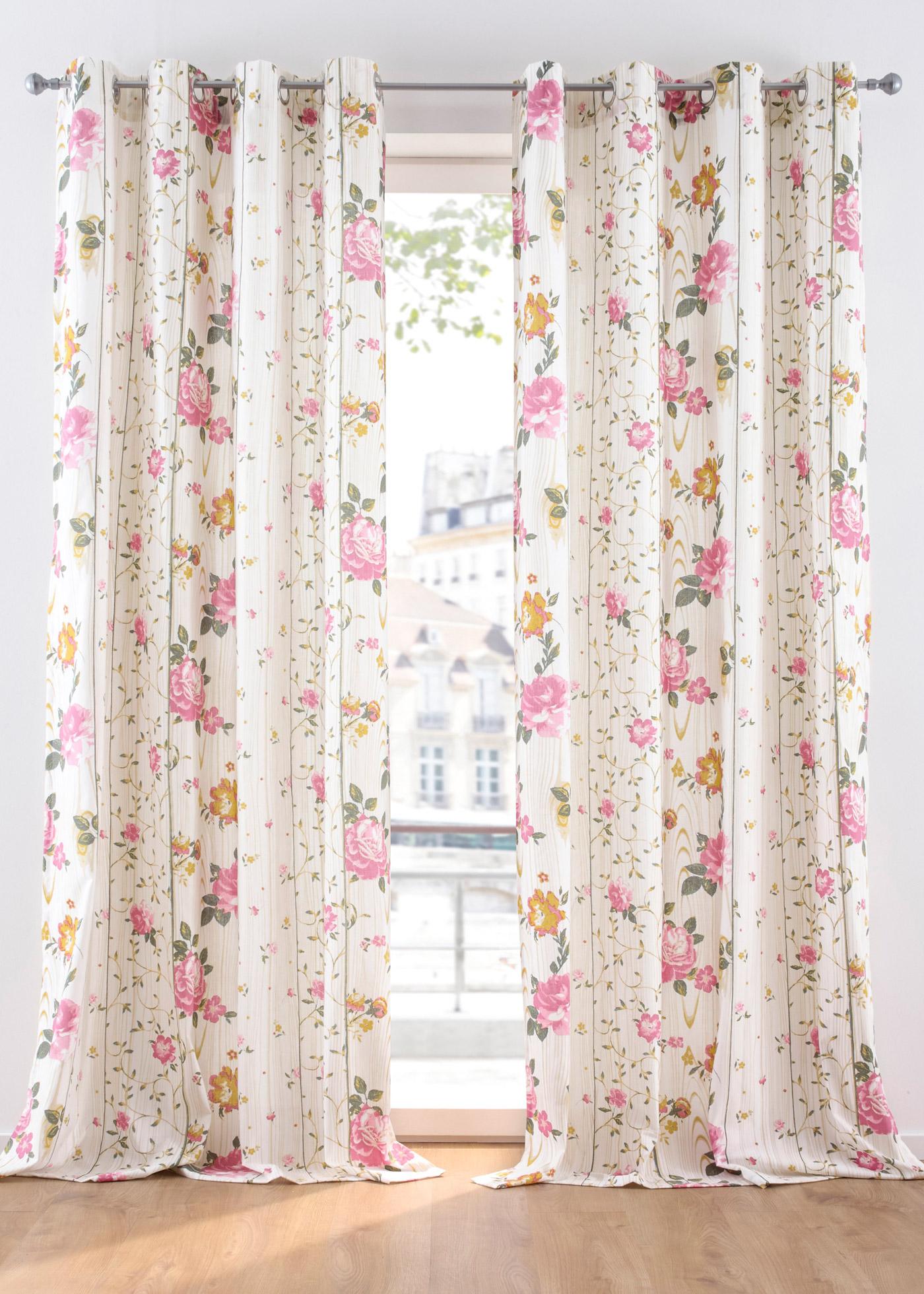 Vorhang mit Blumendruck (1er Pack)