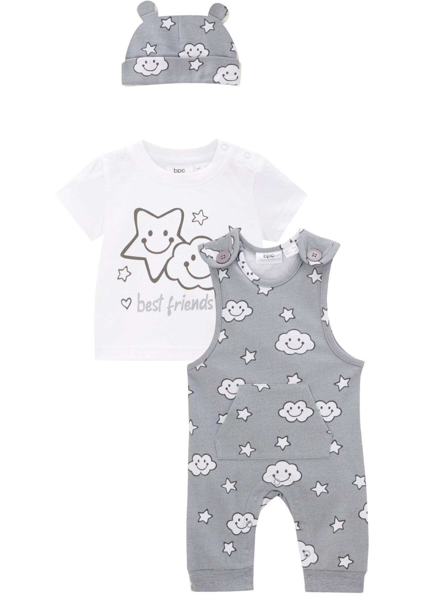 Baby Shirt+Sweatlatzhose+Mütze(3-tlg.Set) aus Bio-Baumwolle